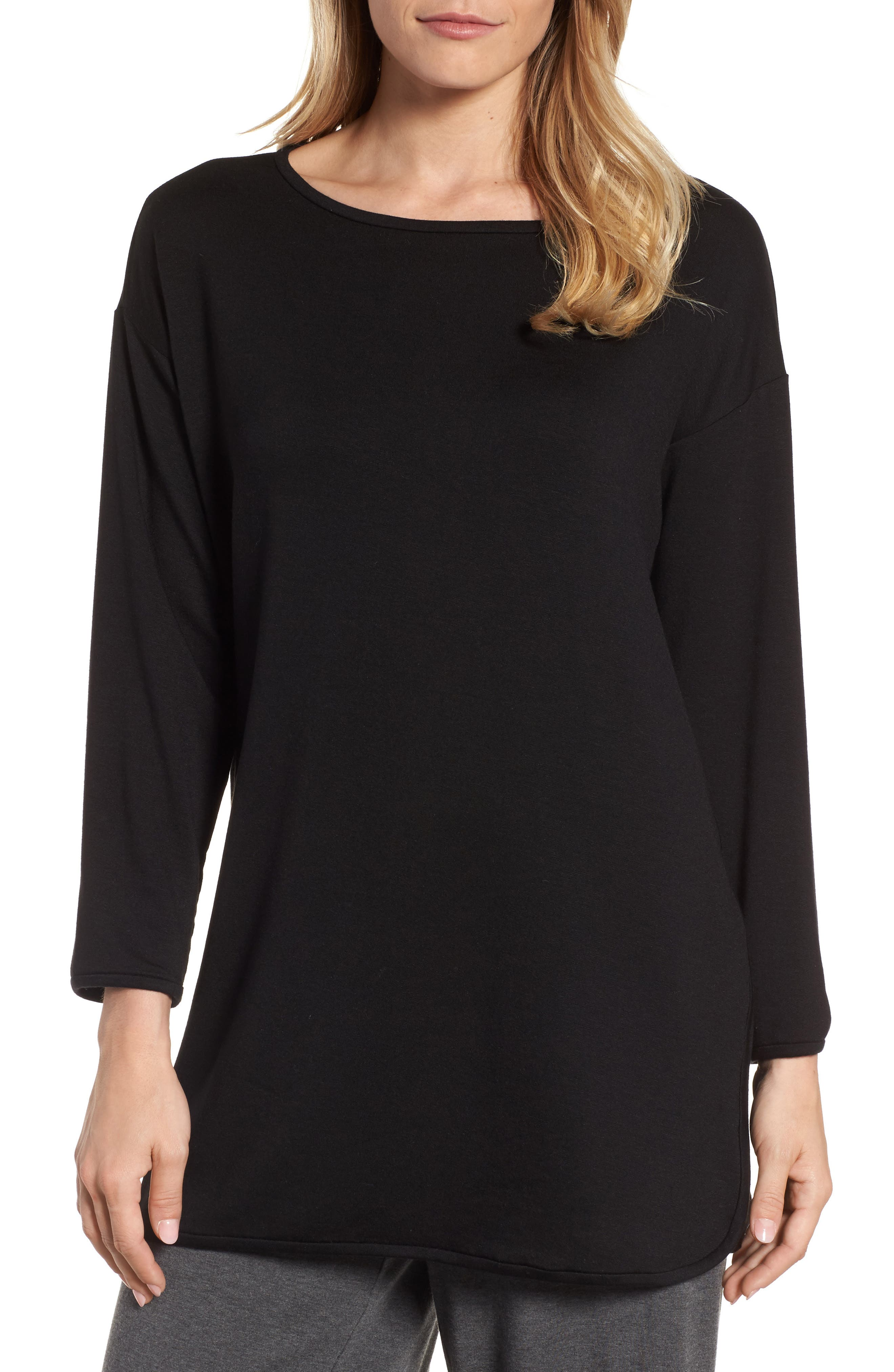 Stretch Tencel<sup>®</sup> Knit Top,                             Main thumbnail 1, color,                             001