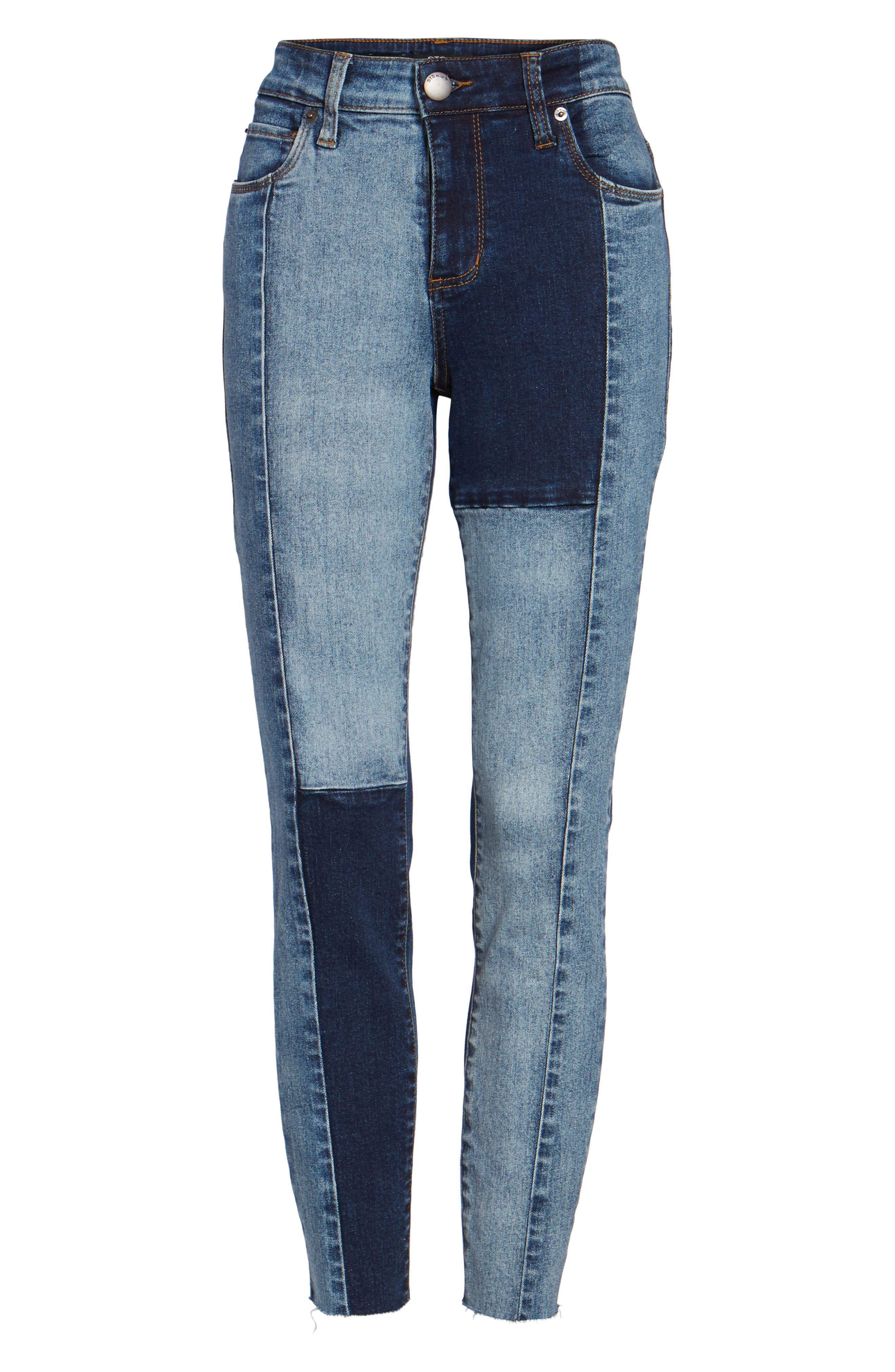 Piper Colorblock Ankle Skinny Jeans,                             Alternate thumbnail 6, color,                             400