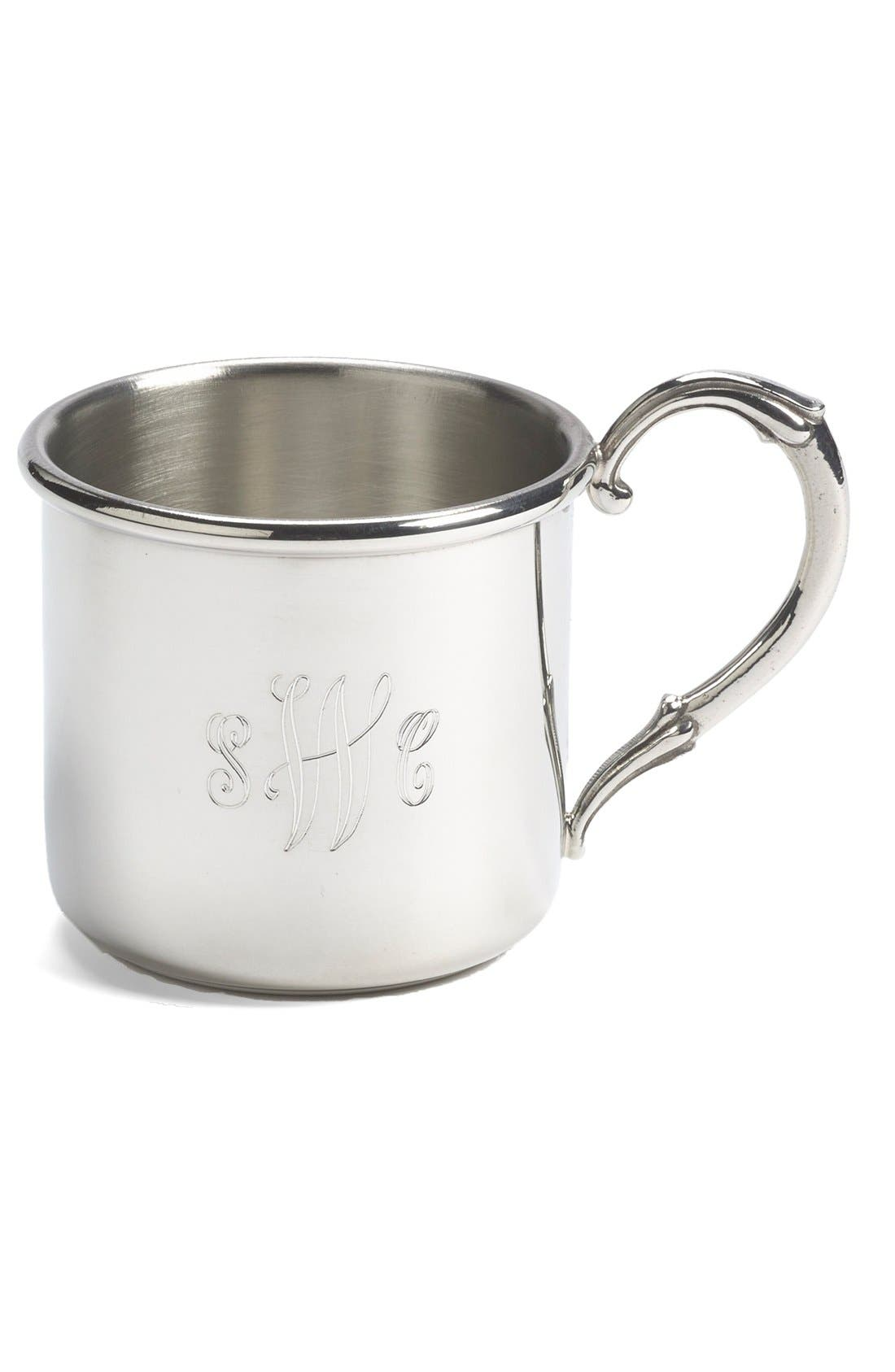 'Easton' Personalized Sterling Silver Cup,                             Main thumbnail 1, color,                             NONE