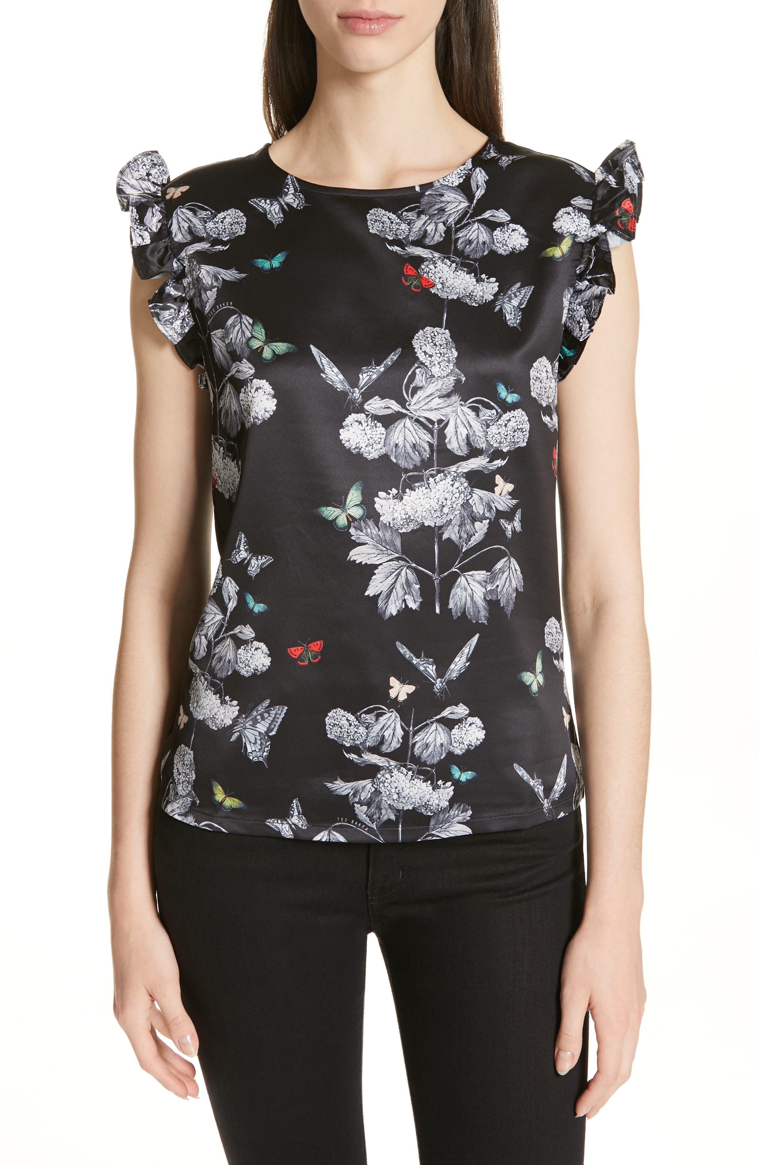 Daneli Narnia Ruffle Sleeve Top, Main, color, BLACK
