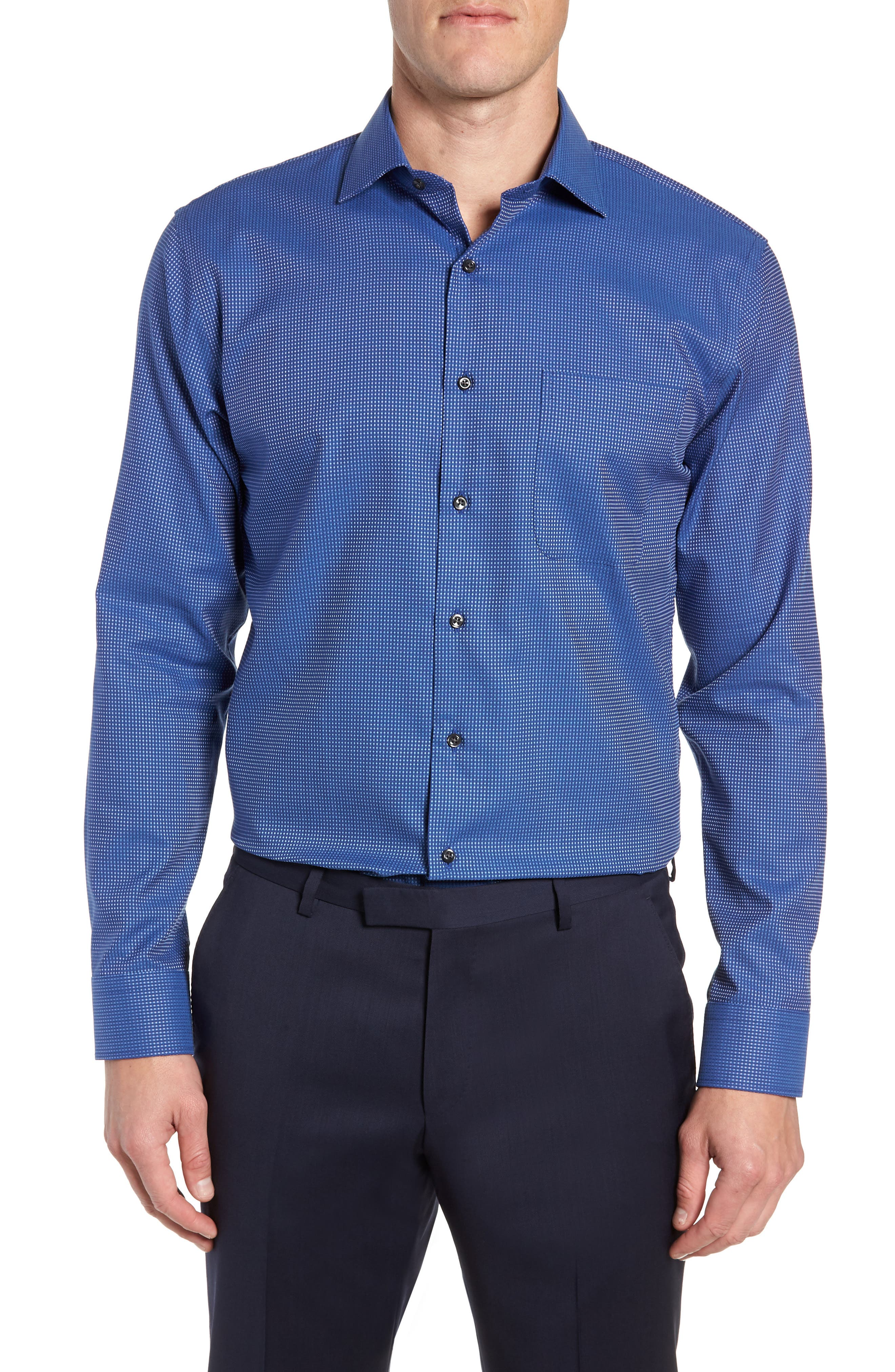 Trim Fit Non-Iron Dot Dress Shirt,                             Main thumbnail 1, color,                             420