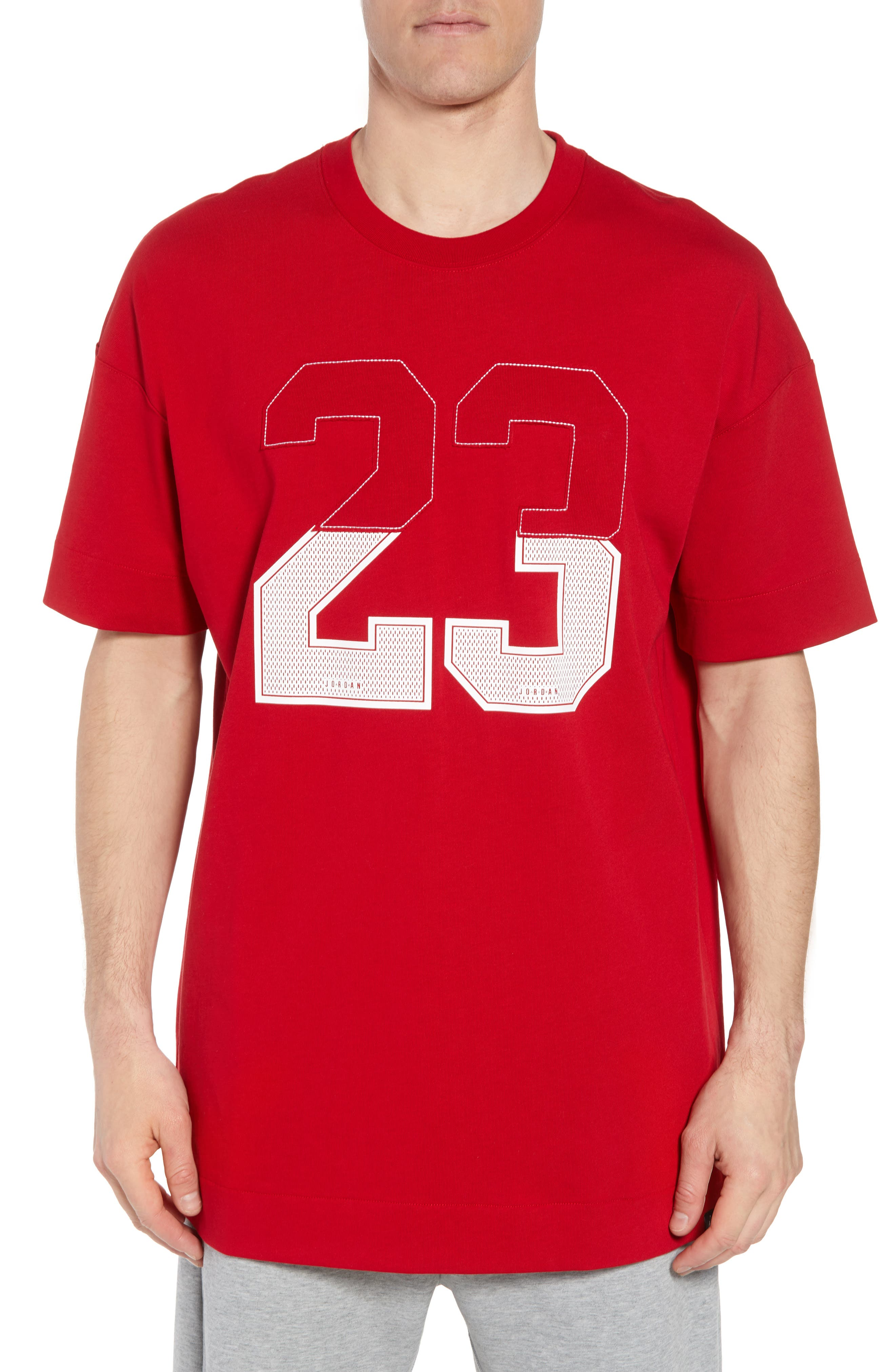 Nike Oversize 23 Graphic T-Shirt,                             Main thumbnail 1, color,                             GYM RED/ WHITE