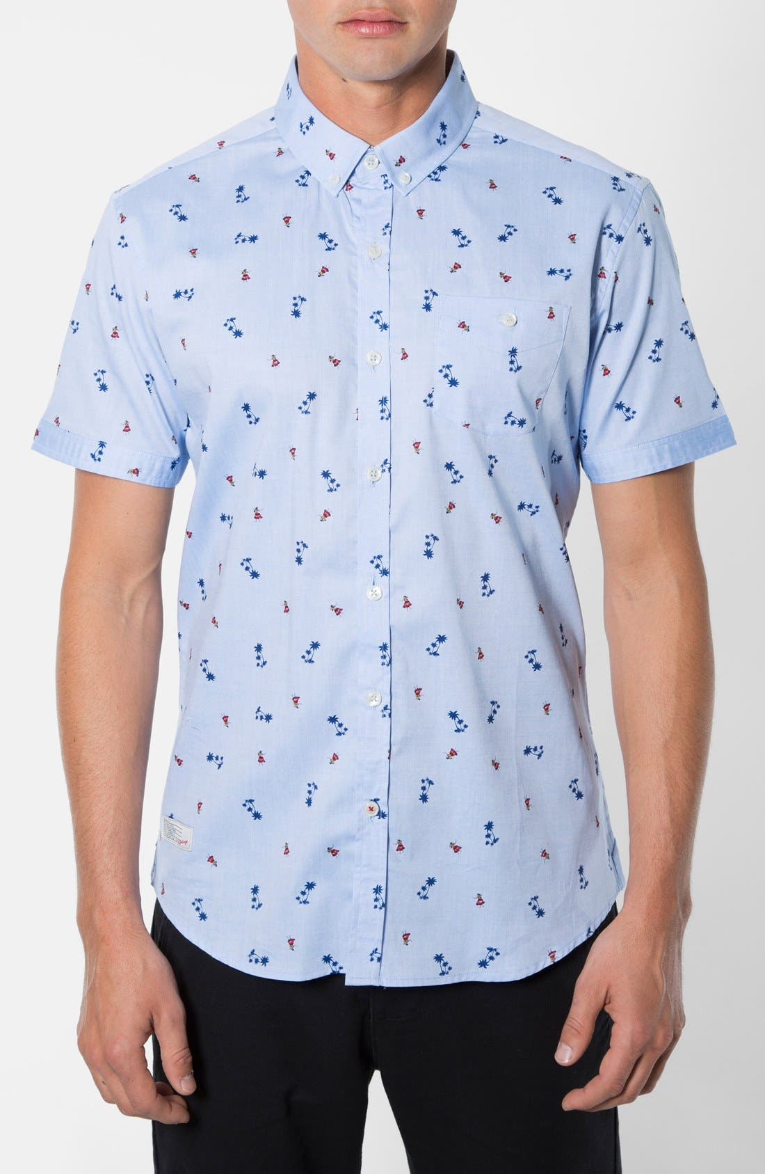 'California Sway' Trim Fit Short Sleeve Print Woven Shirt,                         Main,                         color, 451