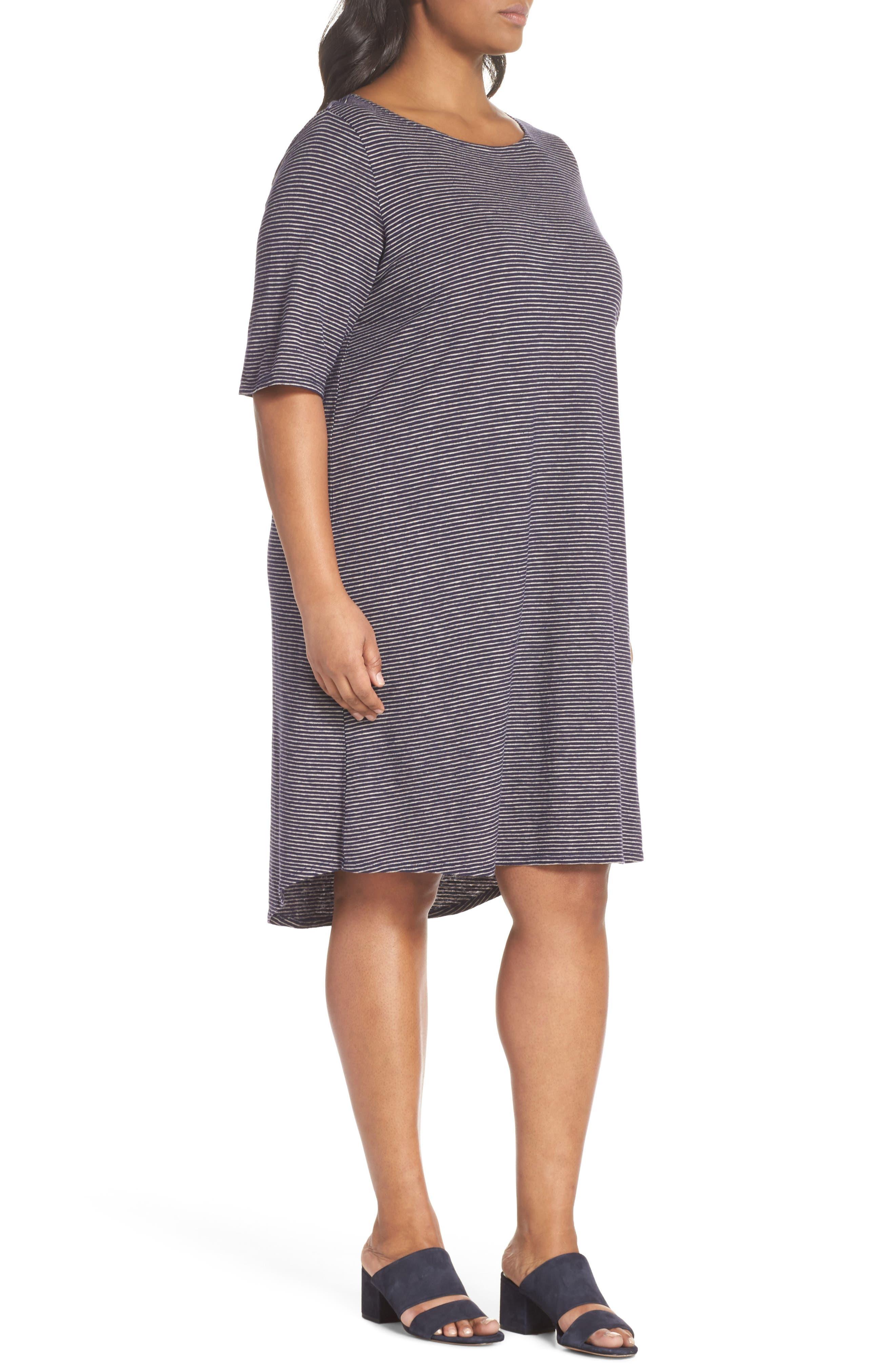 Stripe Hem & Cotton T-Shirt Dress,                             Alternate thumbnail 3, color,                             465