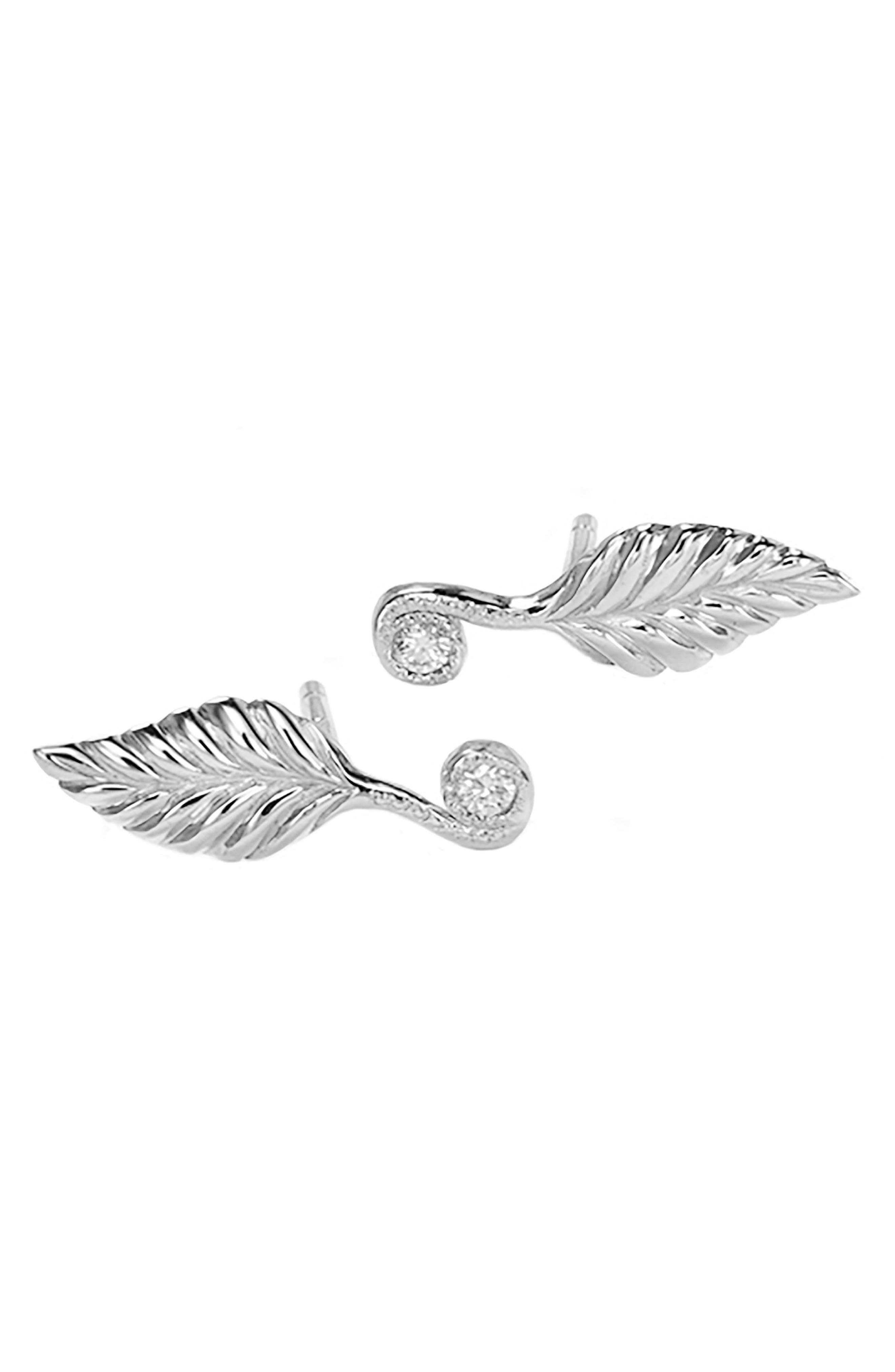 Tiny Diamond Rose Leaf Stud Earrings,                         Main,                         color, STERLING SILVER