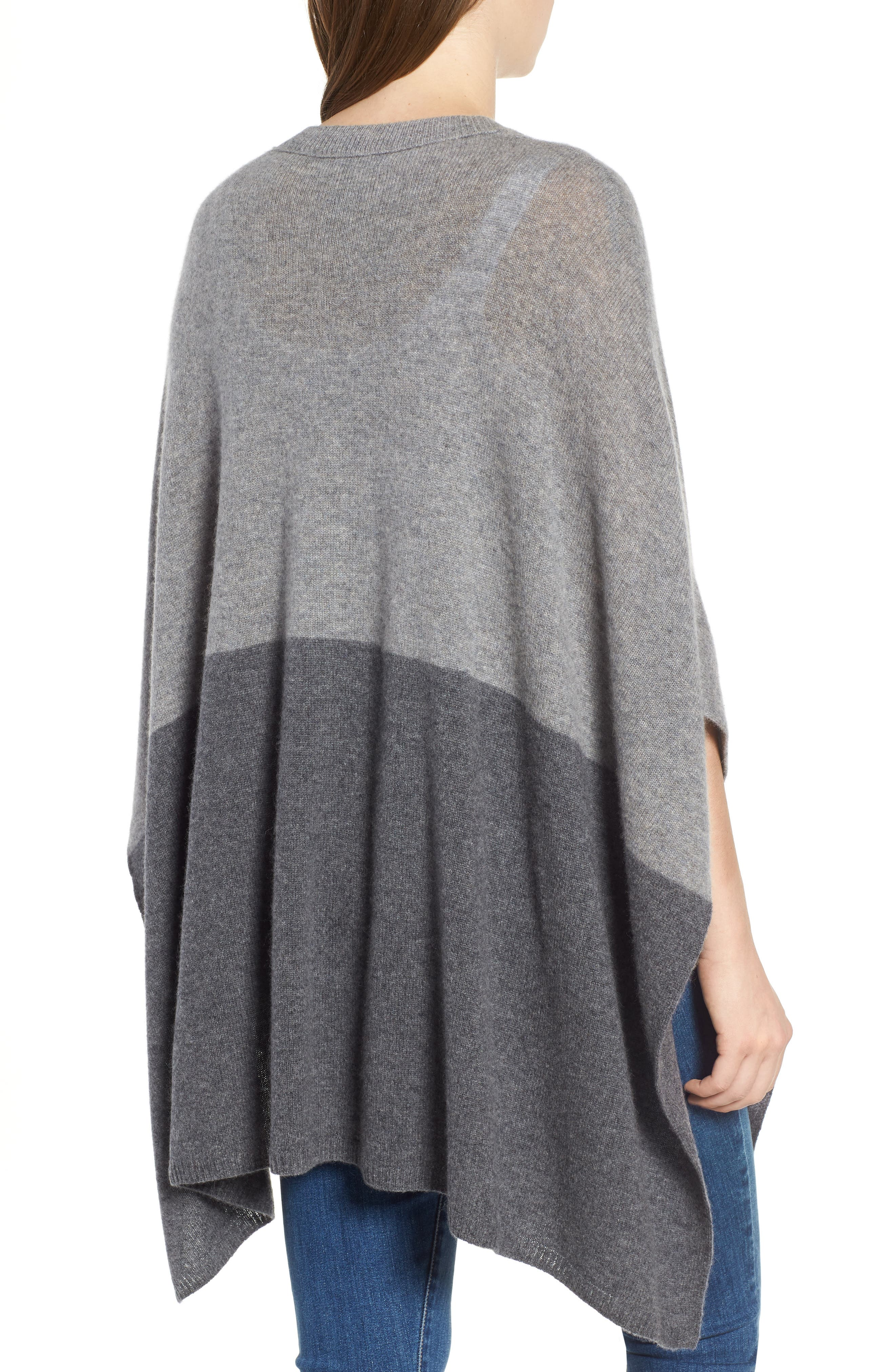Colorblock Cashmere Poncho,                             Alternate thumbnail 2, color,                             030