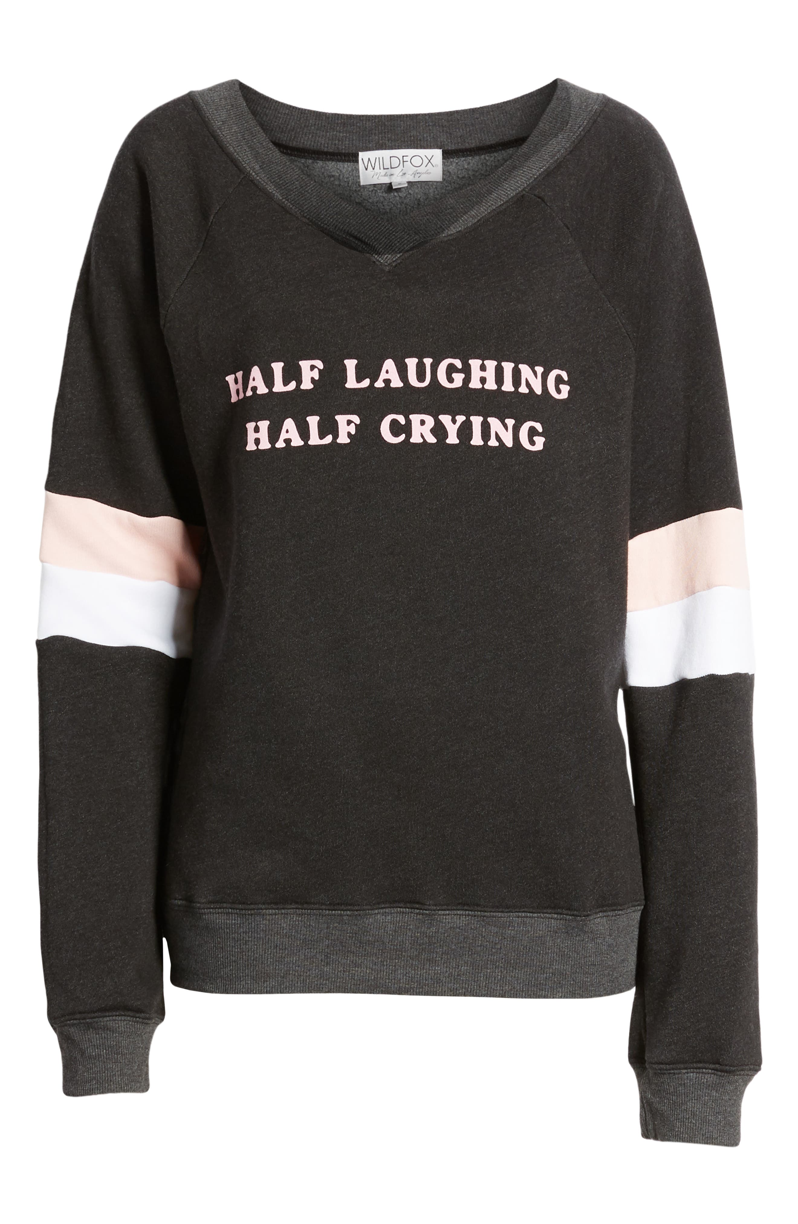 Half Laughing Graphic Pullover,                             Alternate thumbnail 6, color,                             ROMANTIC
