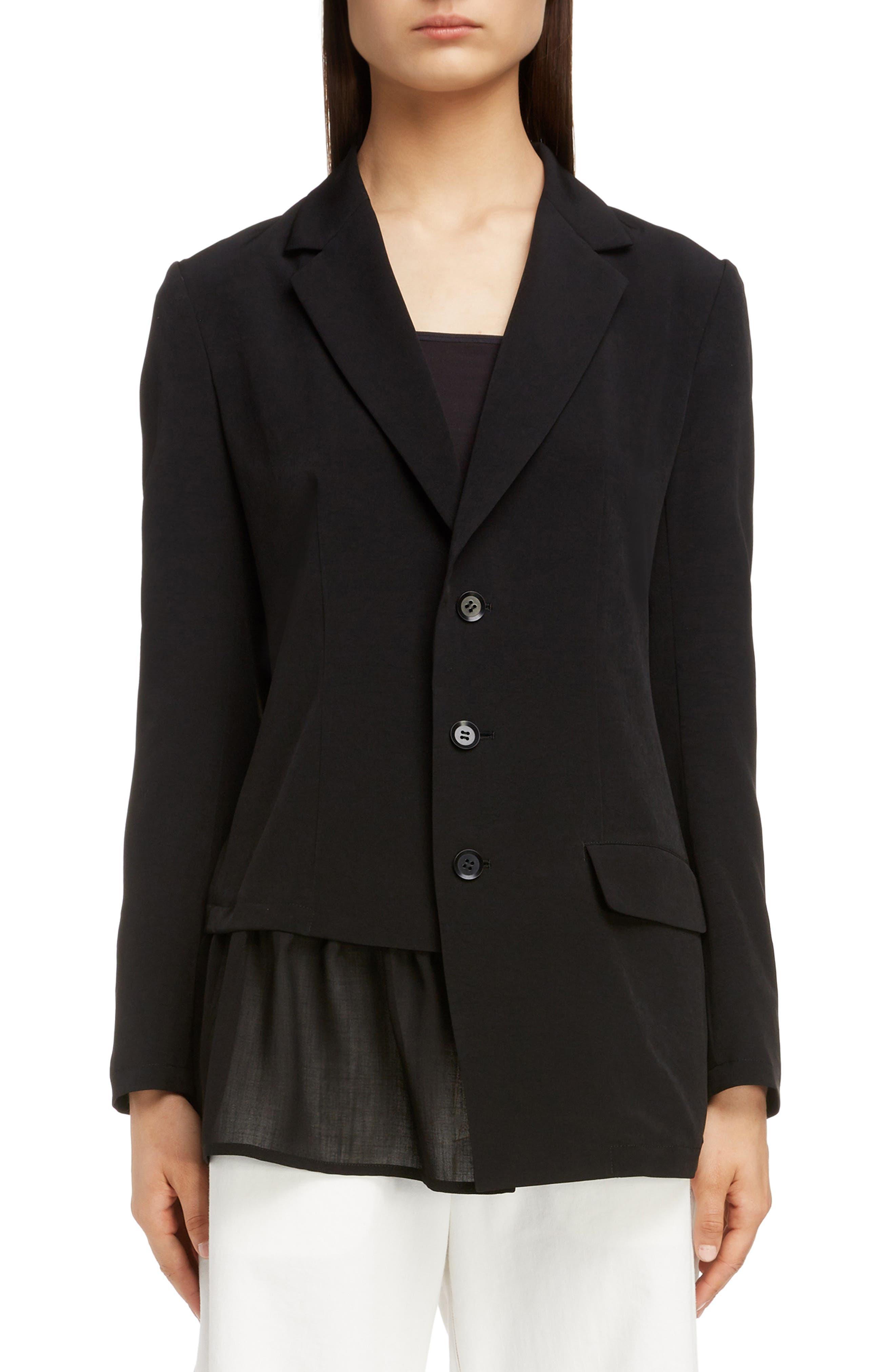 Asymmetrical Peplum Jacket,                         Main,                         color, BLACK