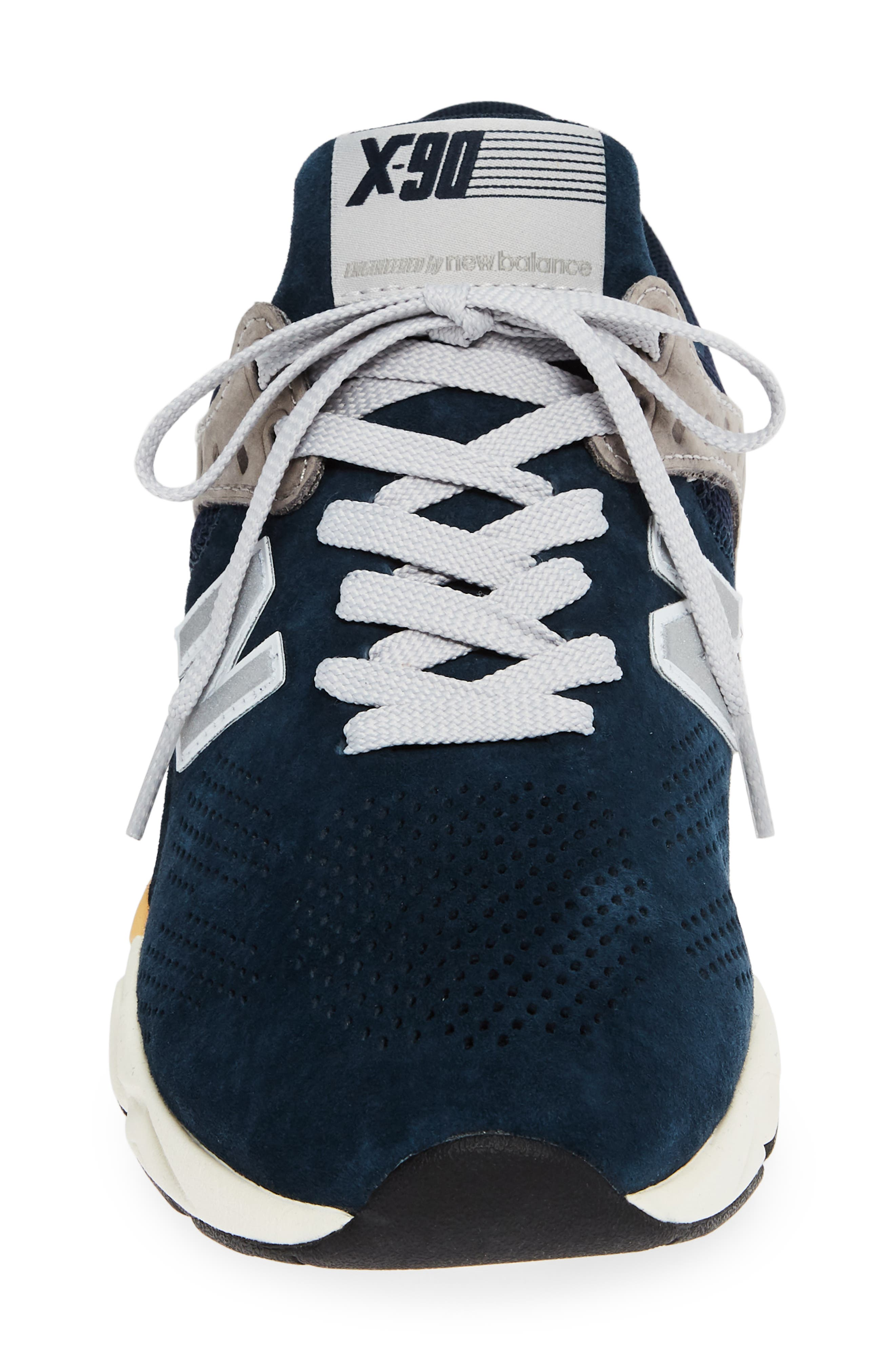 X-90 Leather Sneaker,                             Alternate thumbnail 4, color,                             NAVY SUEDE
