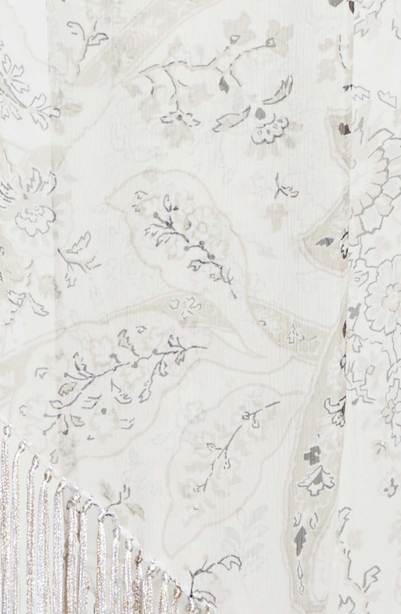 Maharaja Print Scarf with Fringe,                             Alternate thumbnail 4, color,                             WHITE MULTI