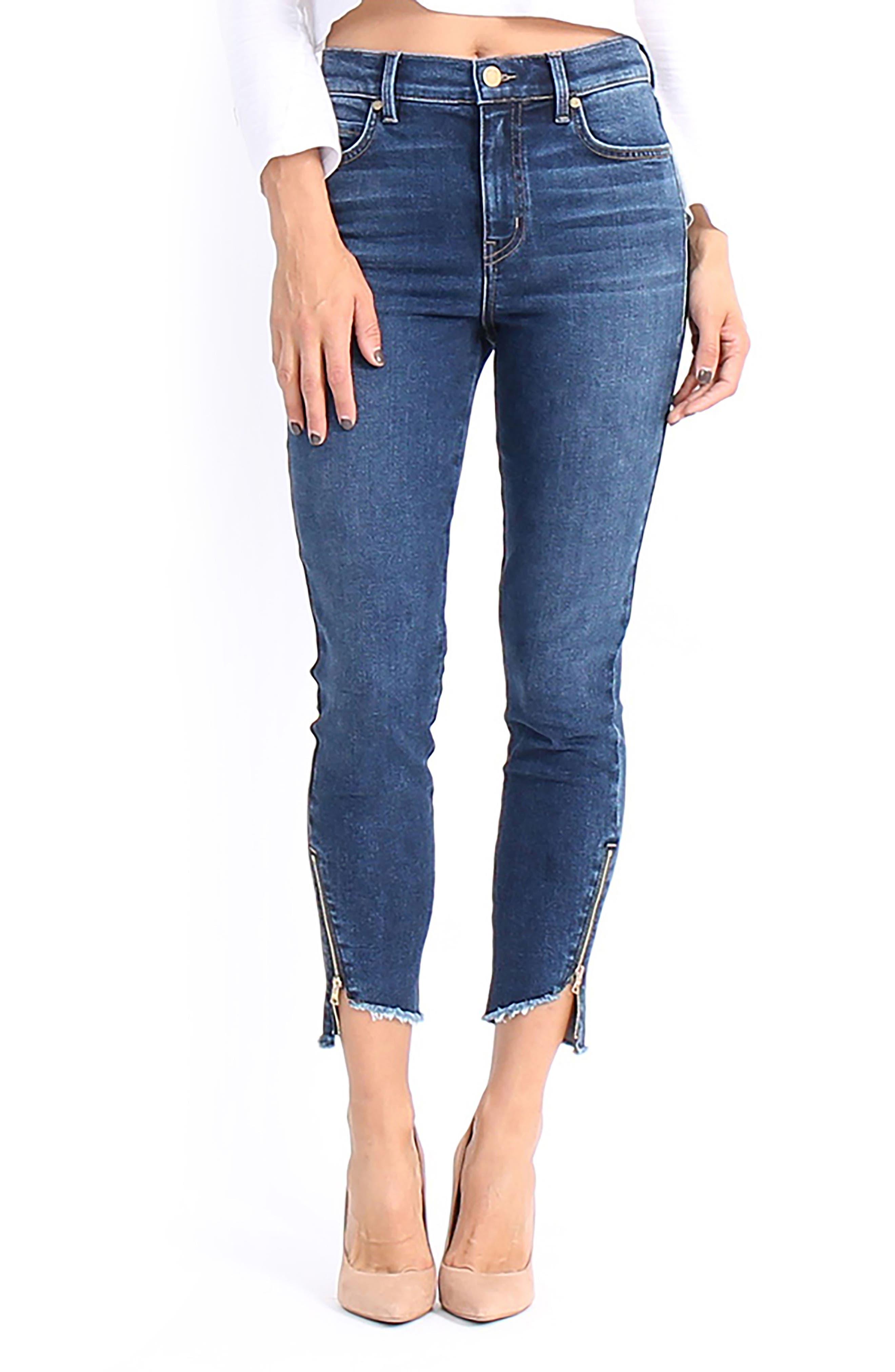 Ellie Uneven Zip Slant Hem Jeans,                             Main thumbnail 1, color,
