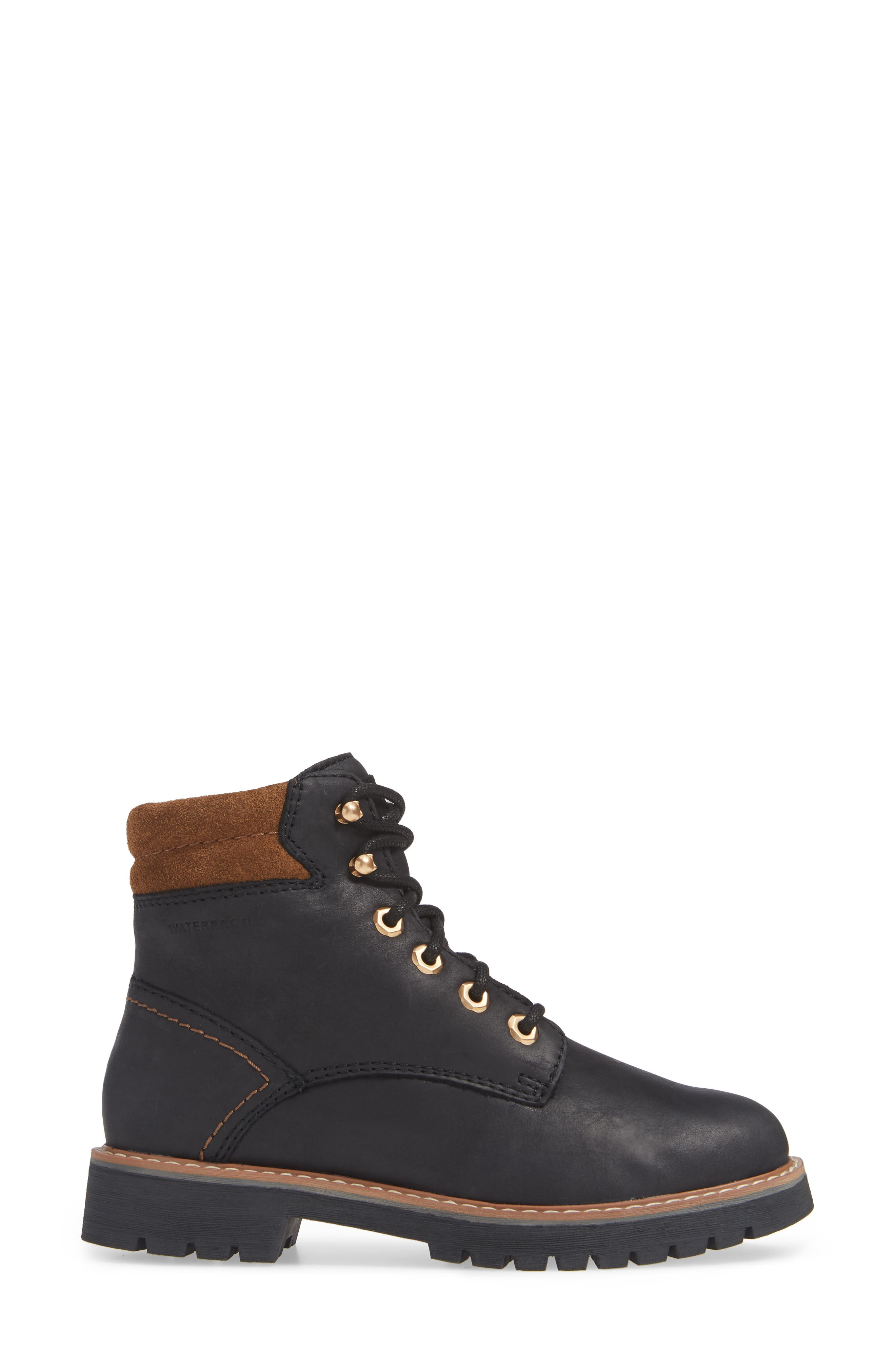 Heston Waterproof Insulated Hiking Boot,                             Alternate thumbnail 3, color,                             BLACK LEATHER