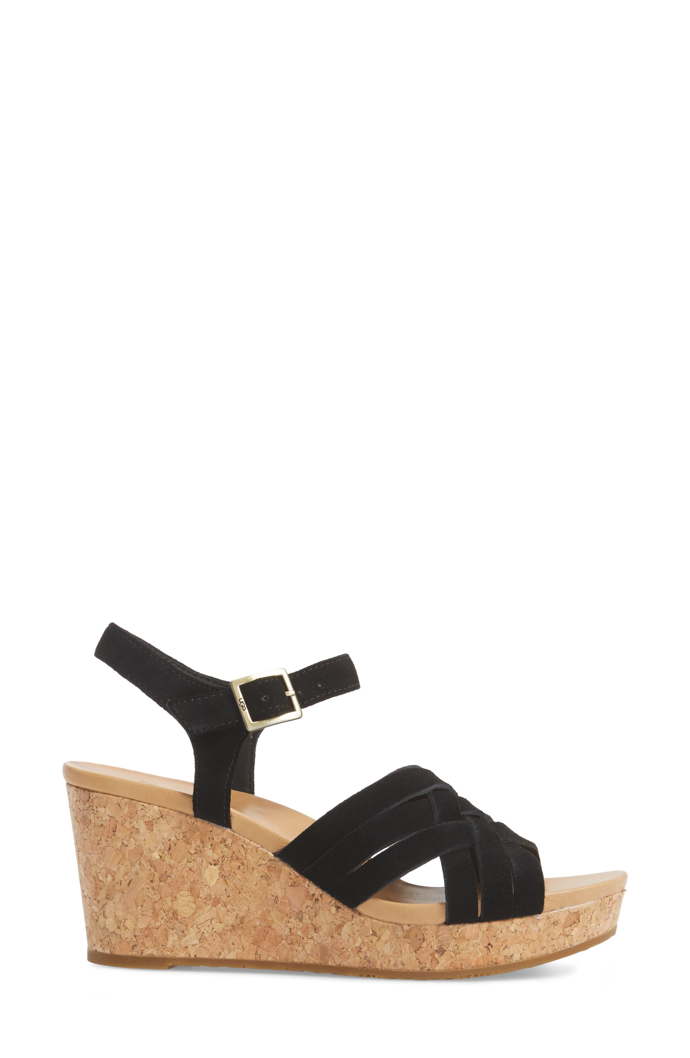 Uma Wedge Sandal,                             Alternate thumbnail 3, color,                             BLACK SUEDE