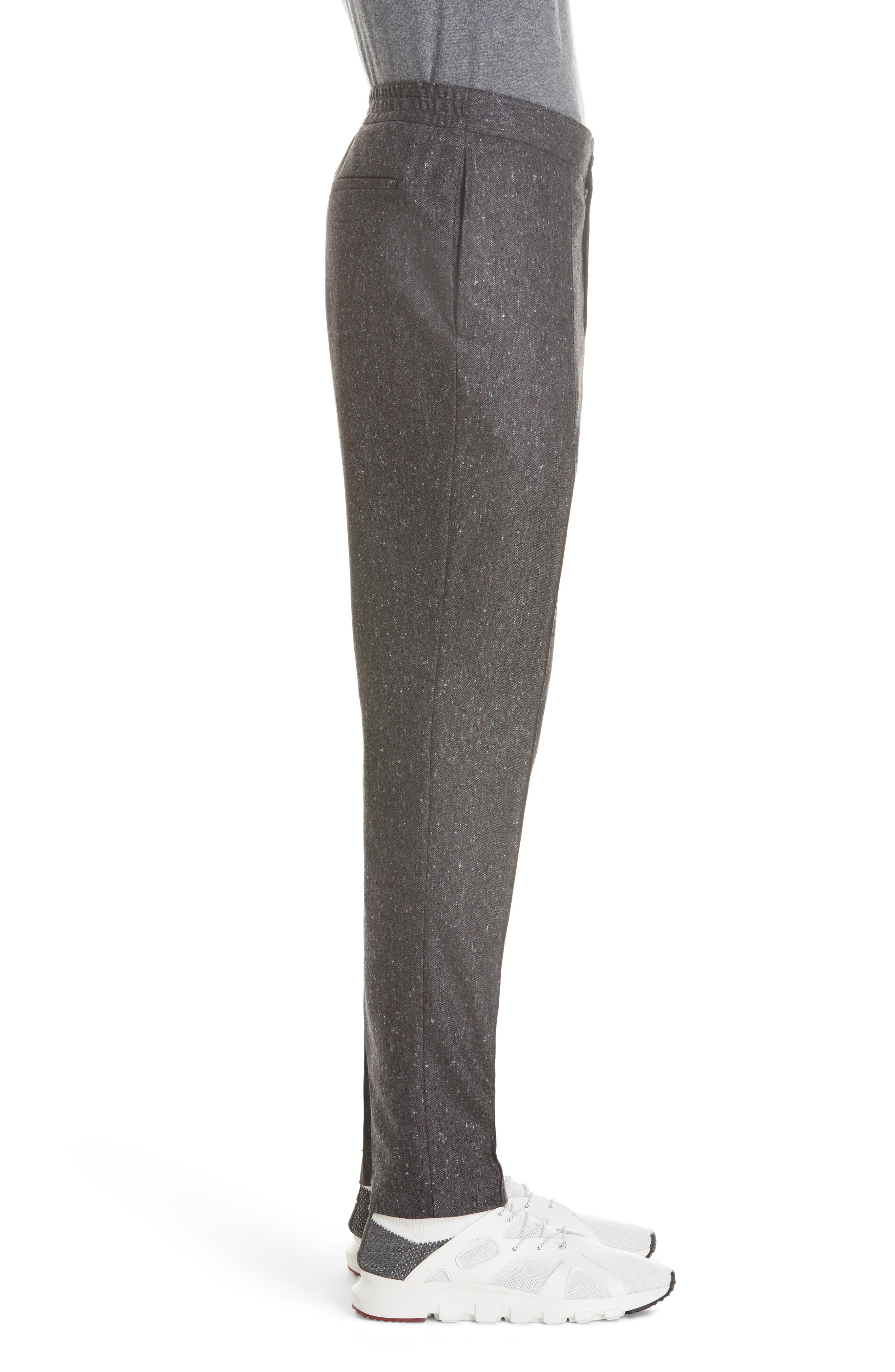 Flat Front Solid Wool Trousers,                             Alternate thumbnail 3, color,                             GREY
