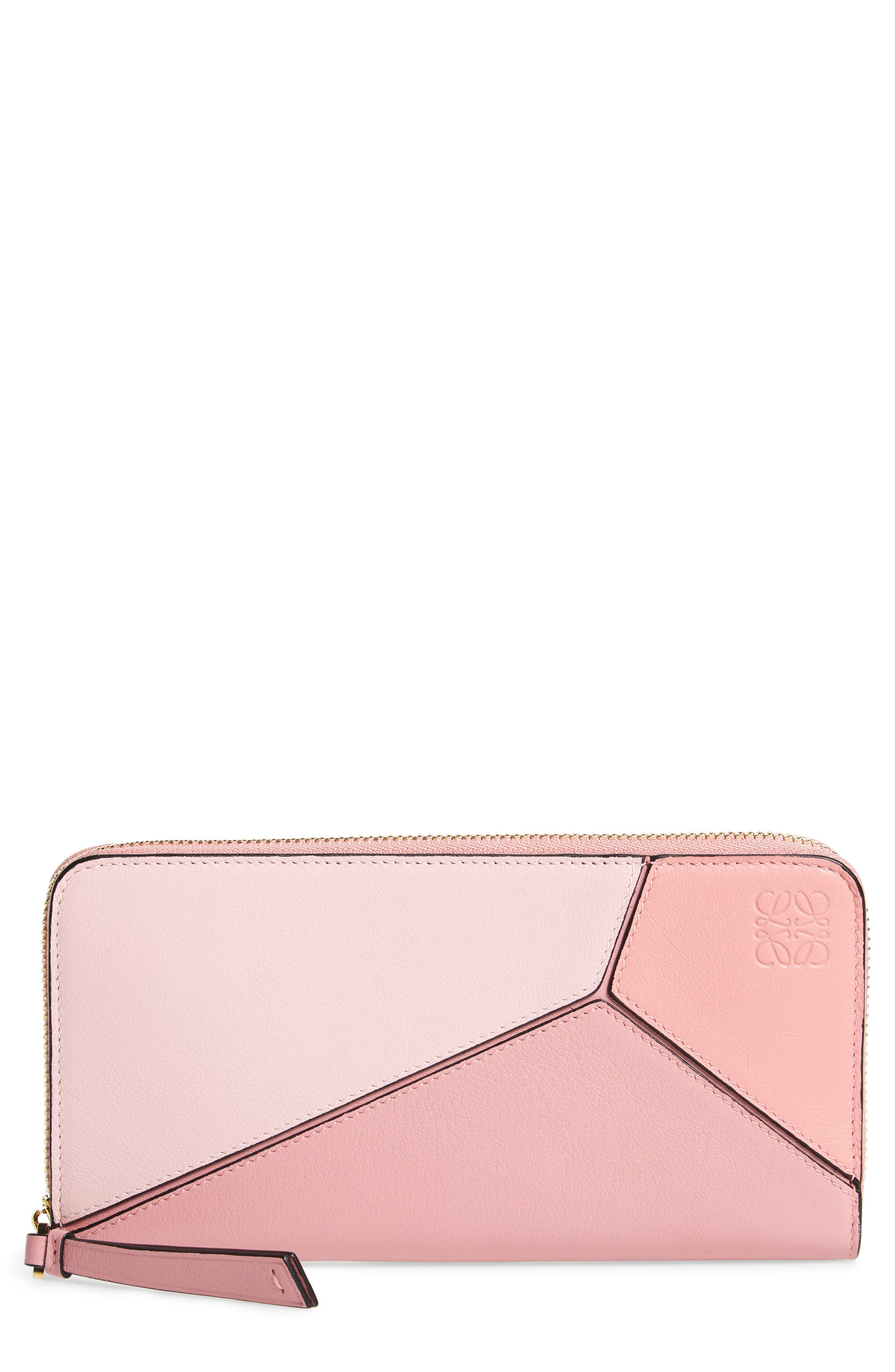 Puzzle Leather Zip Around Wallet,                             Main thumbnail 1, color,                             SOFT PINK/ CANDY/ DARK PINK