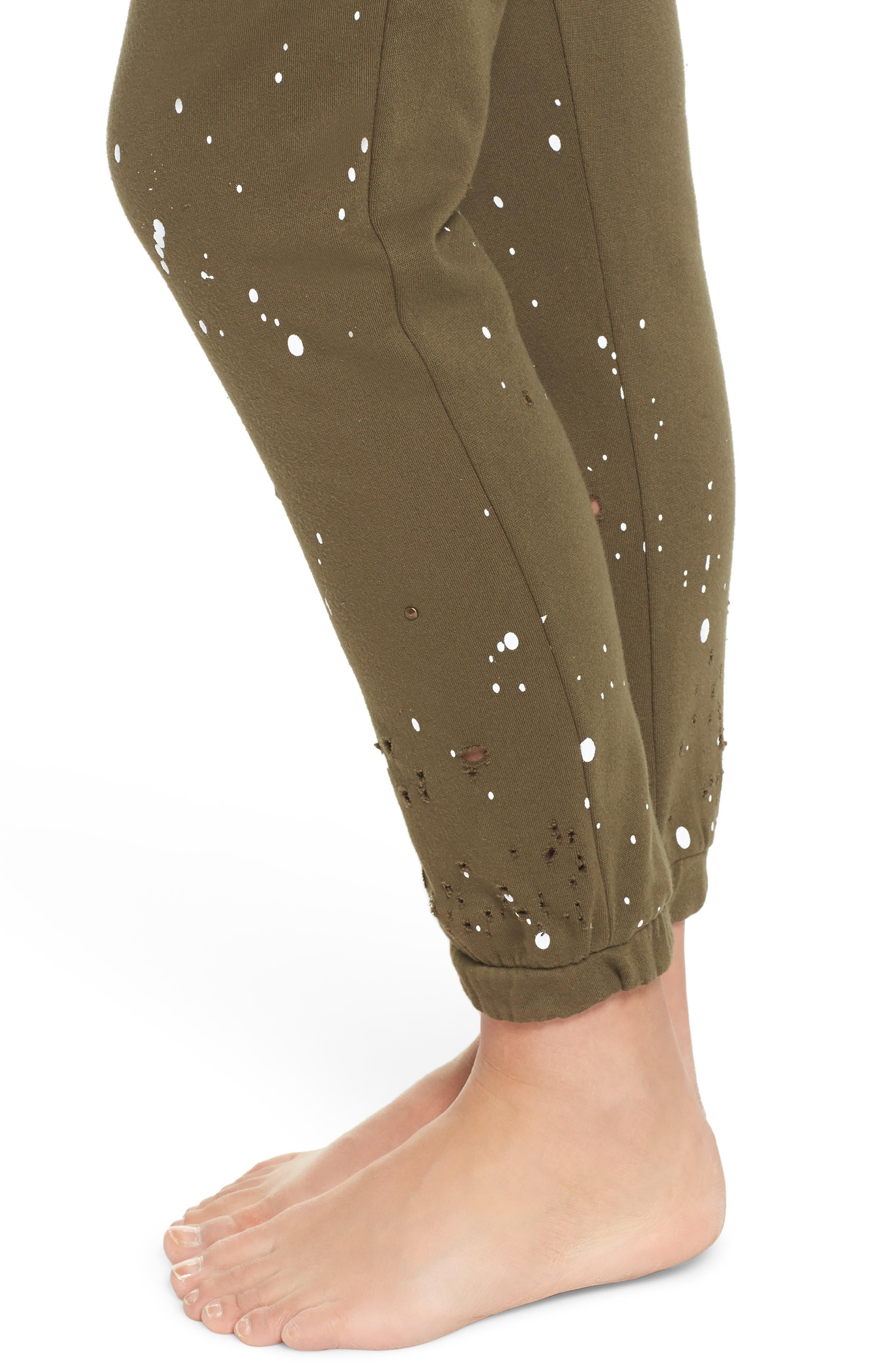 Distressed Fleece Jogger Lounge Pants,                             Alternate thumbnail 8, color,