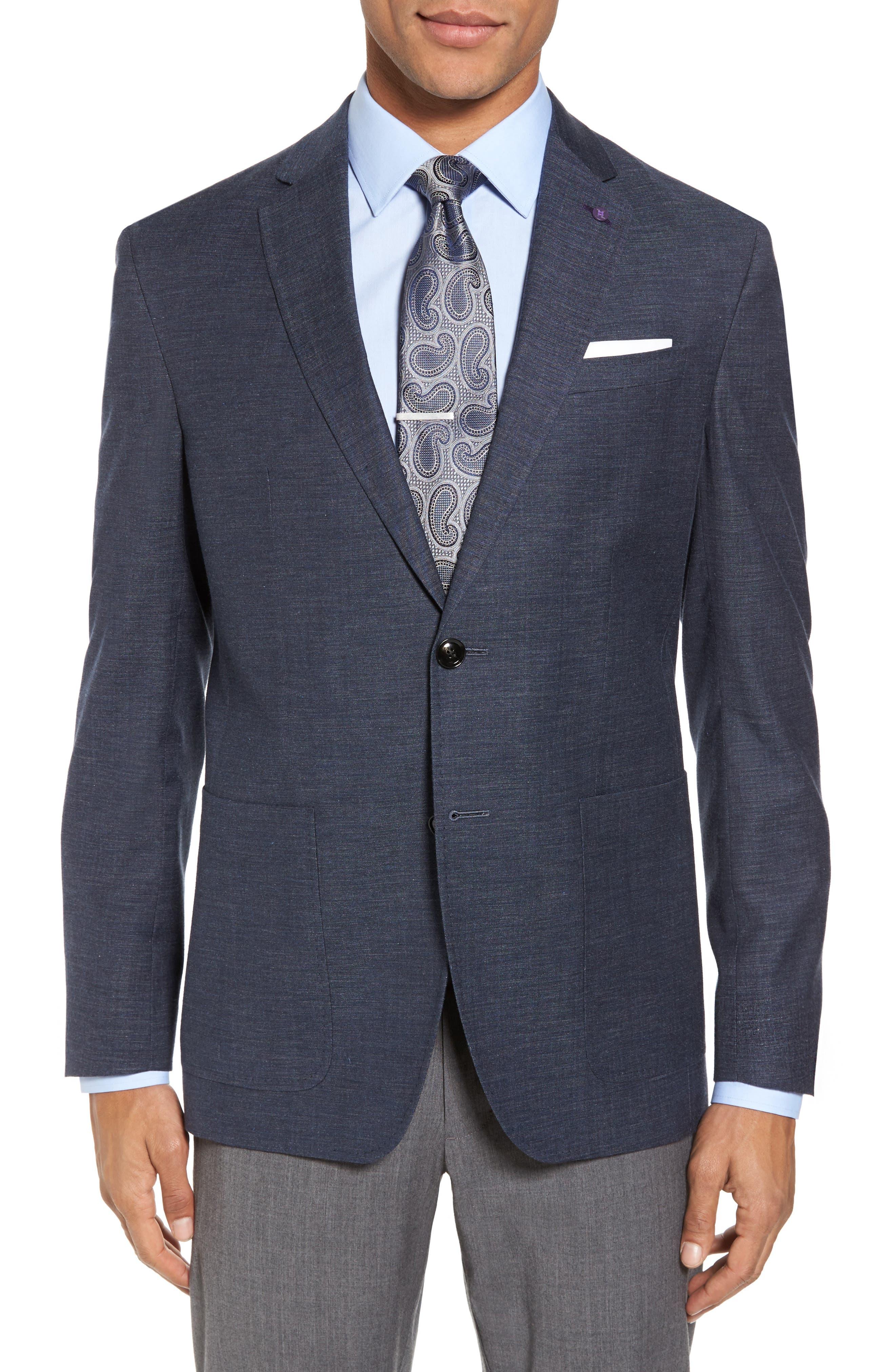 Kyle Trim Fit Wool & Cotton Blazer,                         Main,                         color, 400