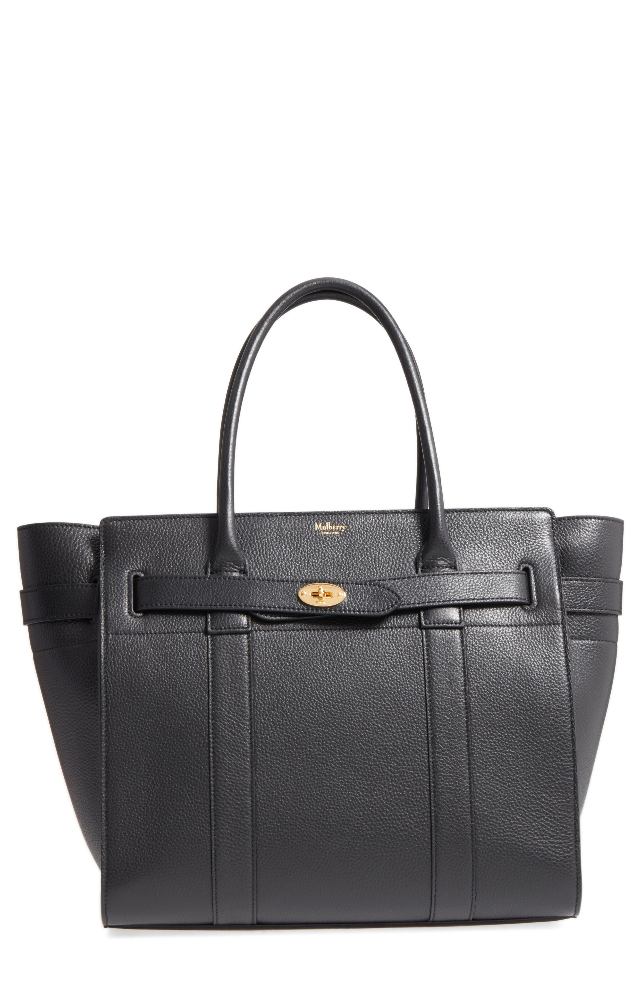 Large Bayswater Leather Tote,                         Main,                         color, BLACK/ BLACK