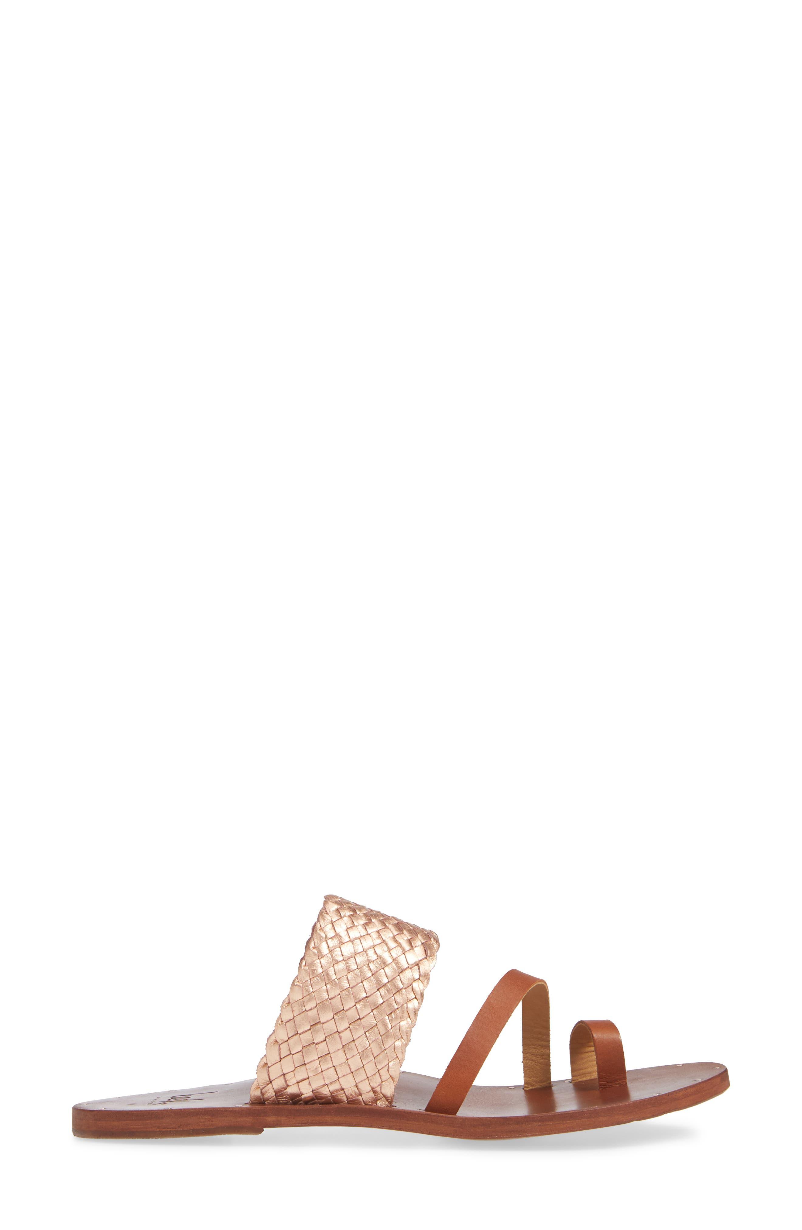 Cockatiel Woven Slide Sandal,                             Alternate thumbnail 3, color,                             ROSE/ TAN