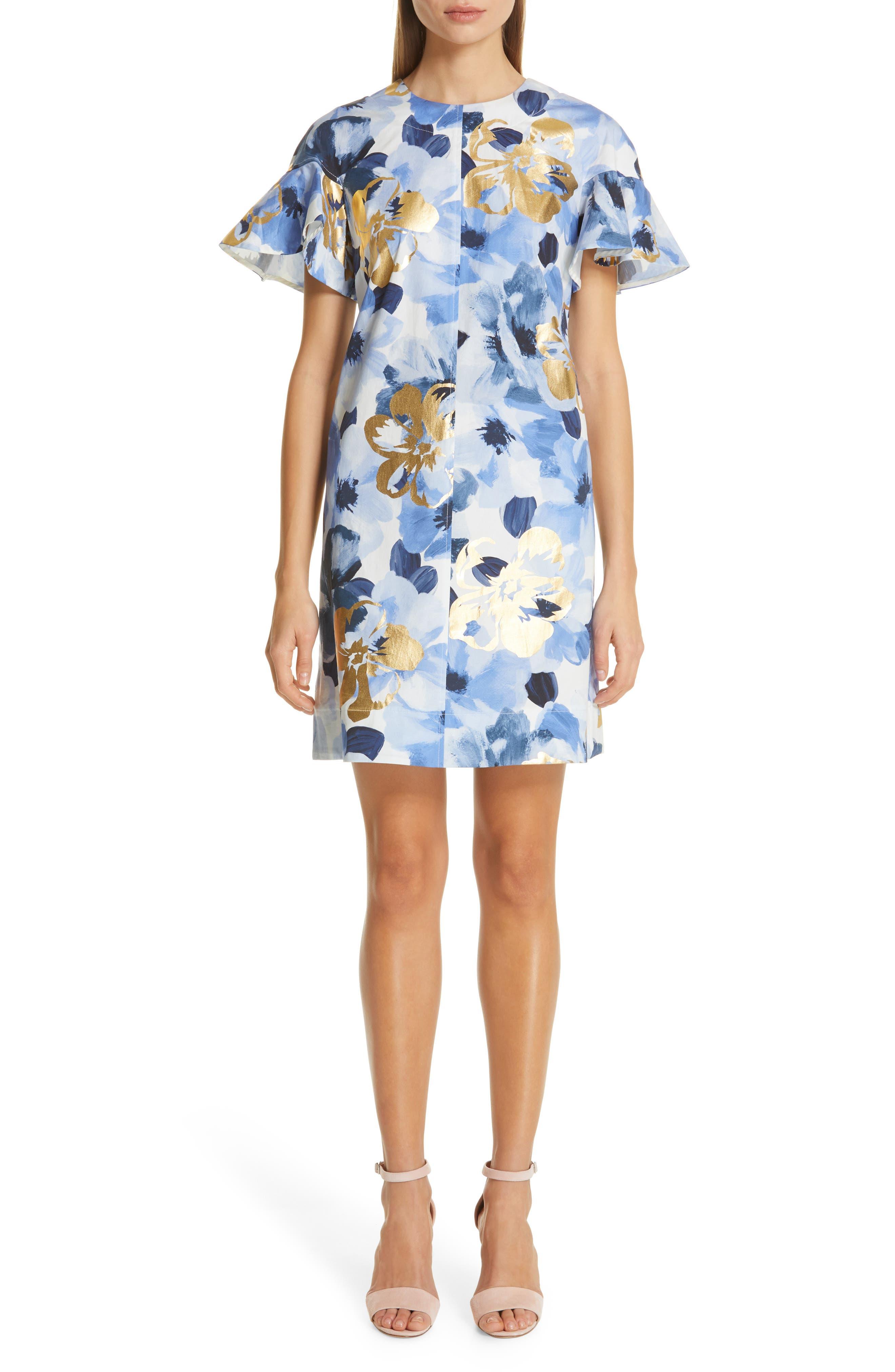Lela Rose Flutter Sleeve Floral Stamped Cotton Dress, Blue