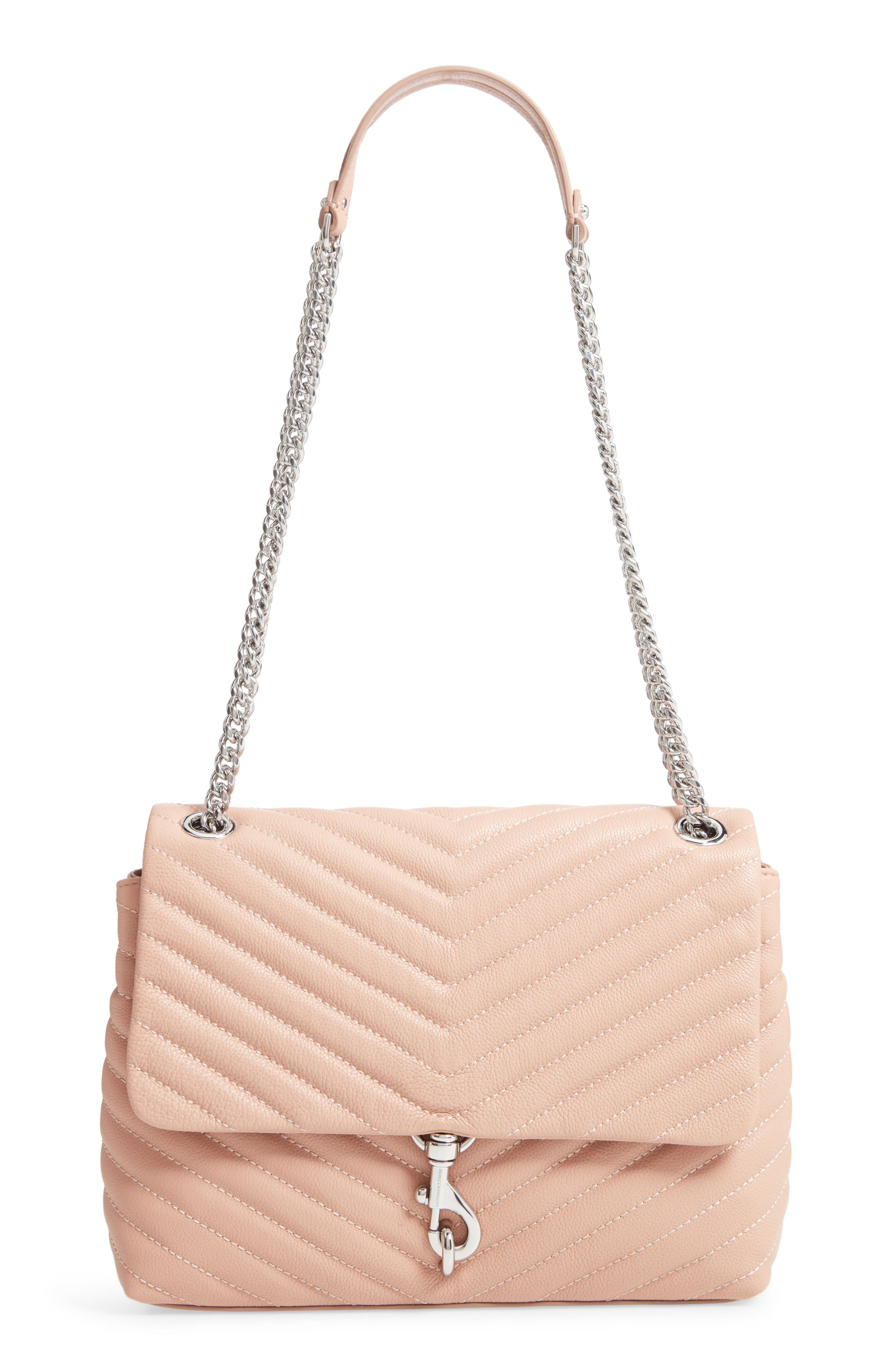 Edie Flap Quilted Leather Shoulder Bag, Main, color, DOE