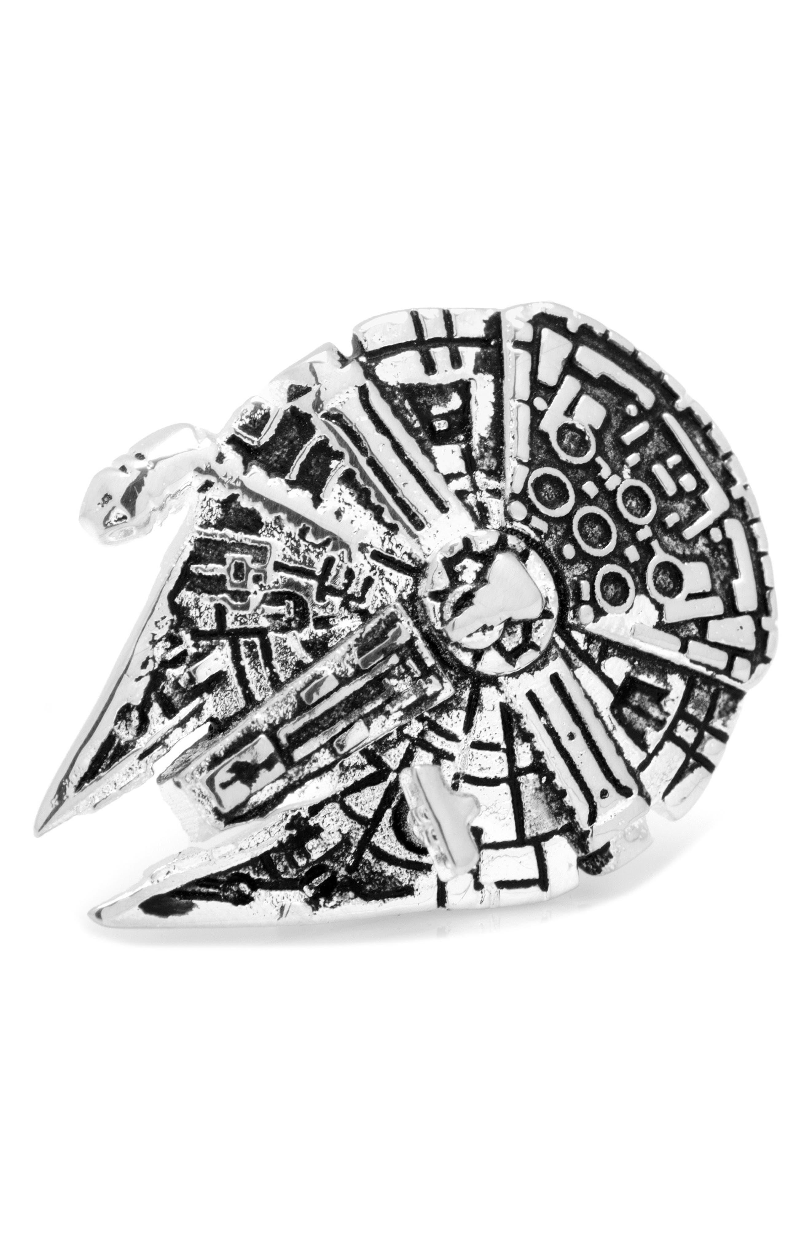 "Cufflinks Inc. ""Star Wars"" 3D Millennium Falcon Lapel Pin,                         Main,                         color, SILVER"