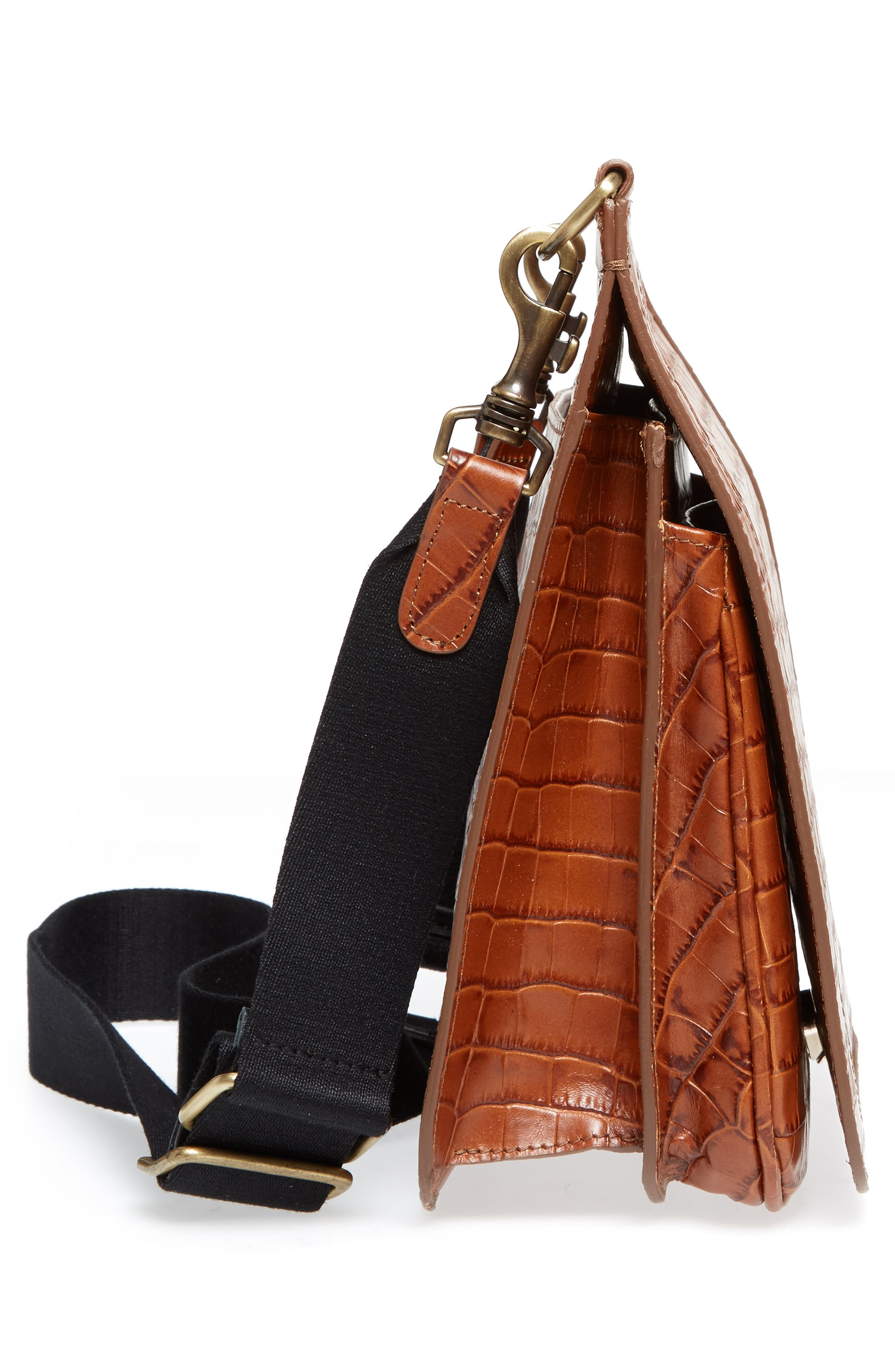Tall Equestrian Croc Embossed Leather Crossbody Bag,                             Alternate thumbnail 5, color,                             200