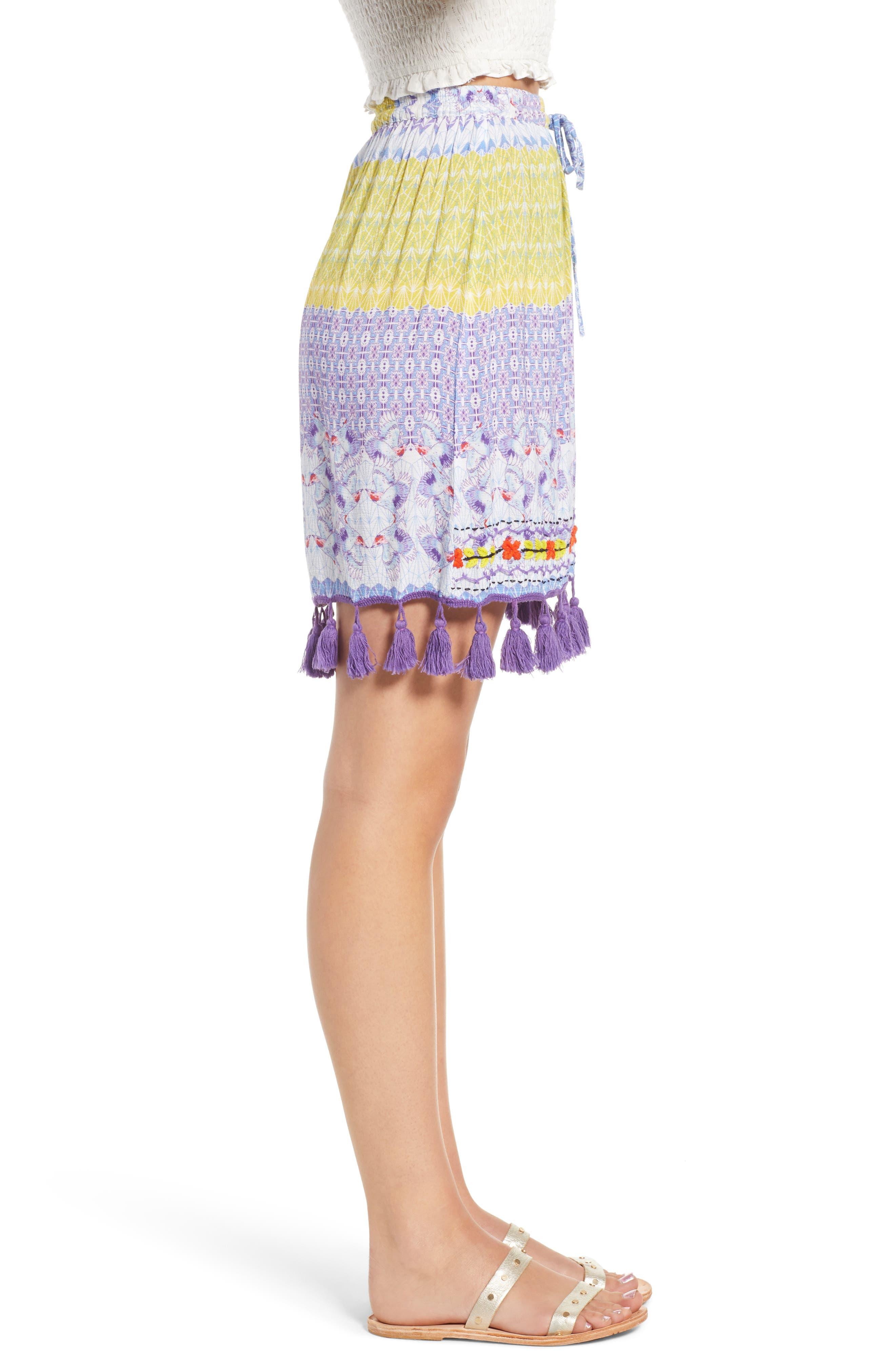 Tropic Bird Tassel Trim Skirt,                             Alternate thumbnail 3, color,                             500