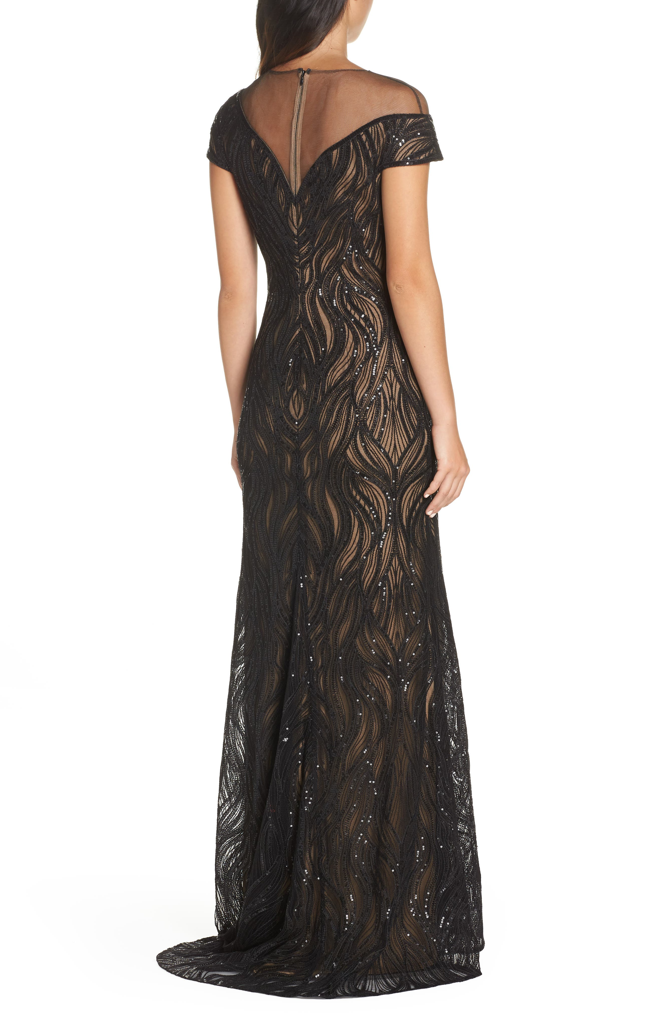 Lucilia Illusion Sequin Gown,                             Alternate thumbnail 2, color,                             BLACK/ NUDE