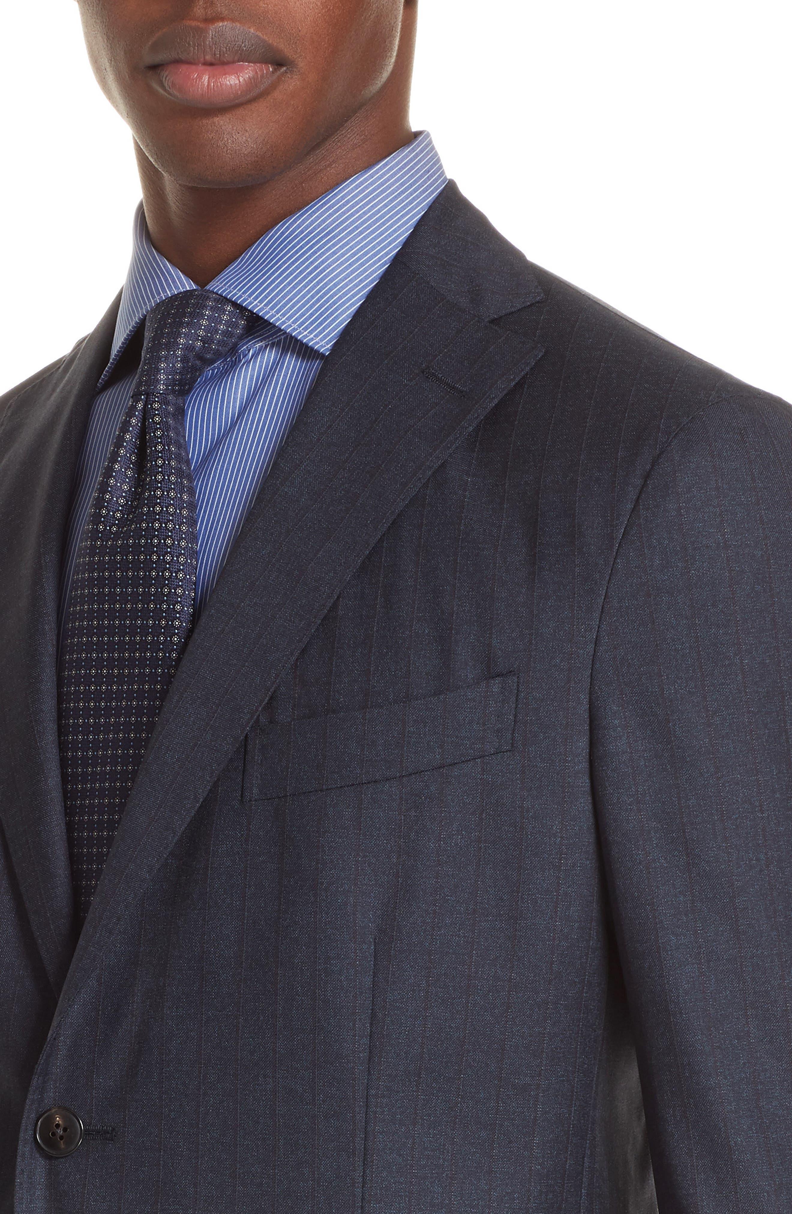 Trim Fit Stripe Wool Suit,                             Alternate thumbnail 4, color,                             NAVY
