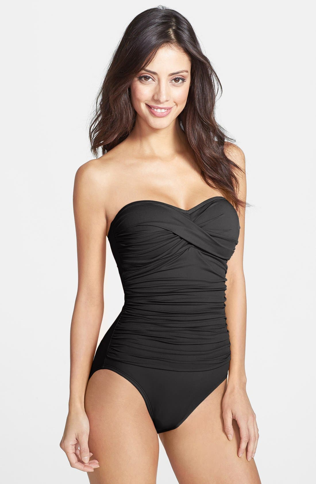 Twist Front Bandeau One-Piece Swimsuit,                             Main thumbnail 1, color,