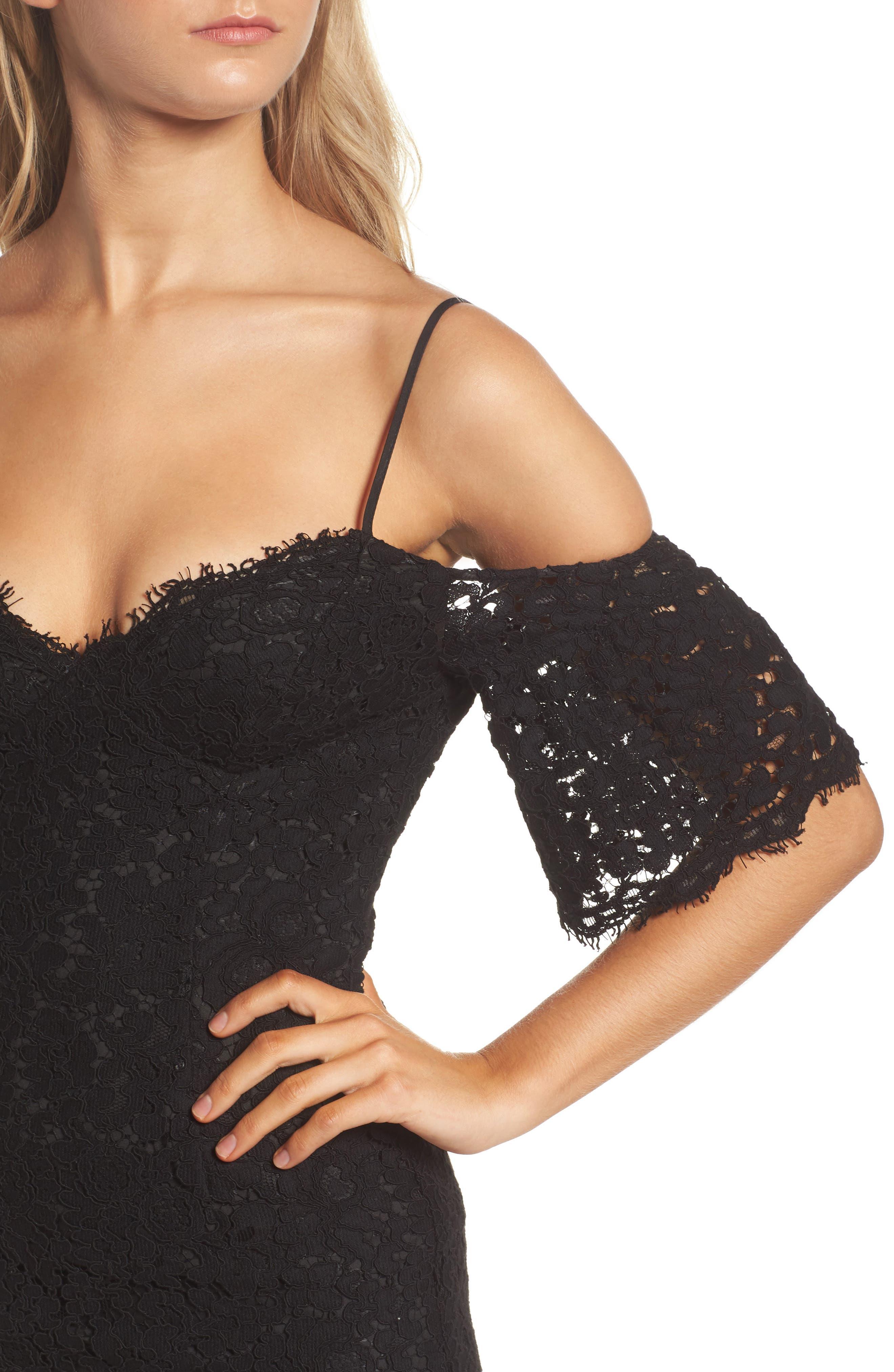 Karlie Cold Shoulder Lace Dress,                             Alternate thumbnail 4, color,                             001