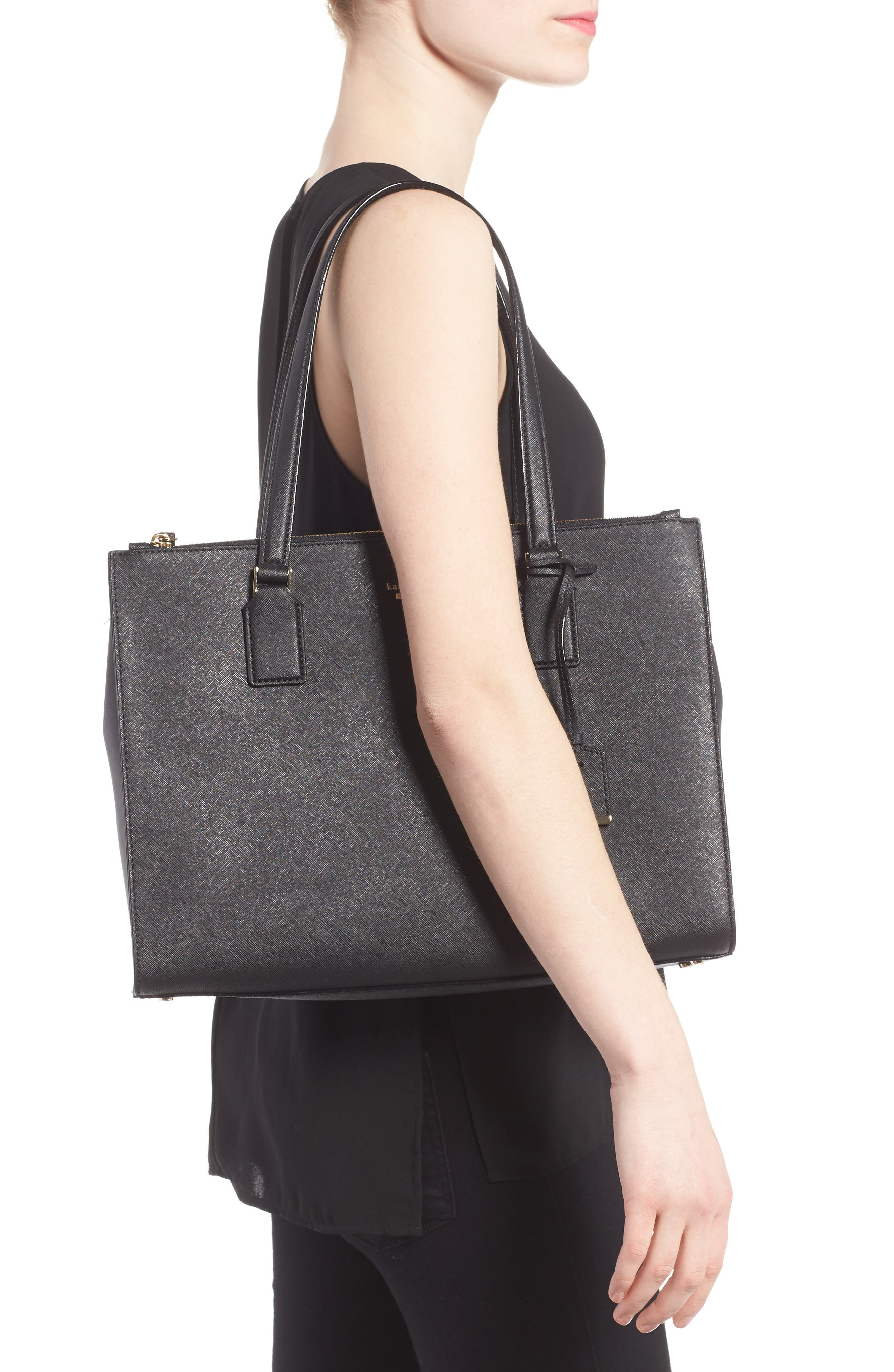 cameron street - jensen leather tote,                             Alternate thumbnail 2, color,                             001
