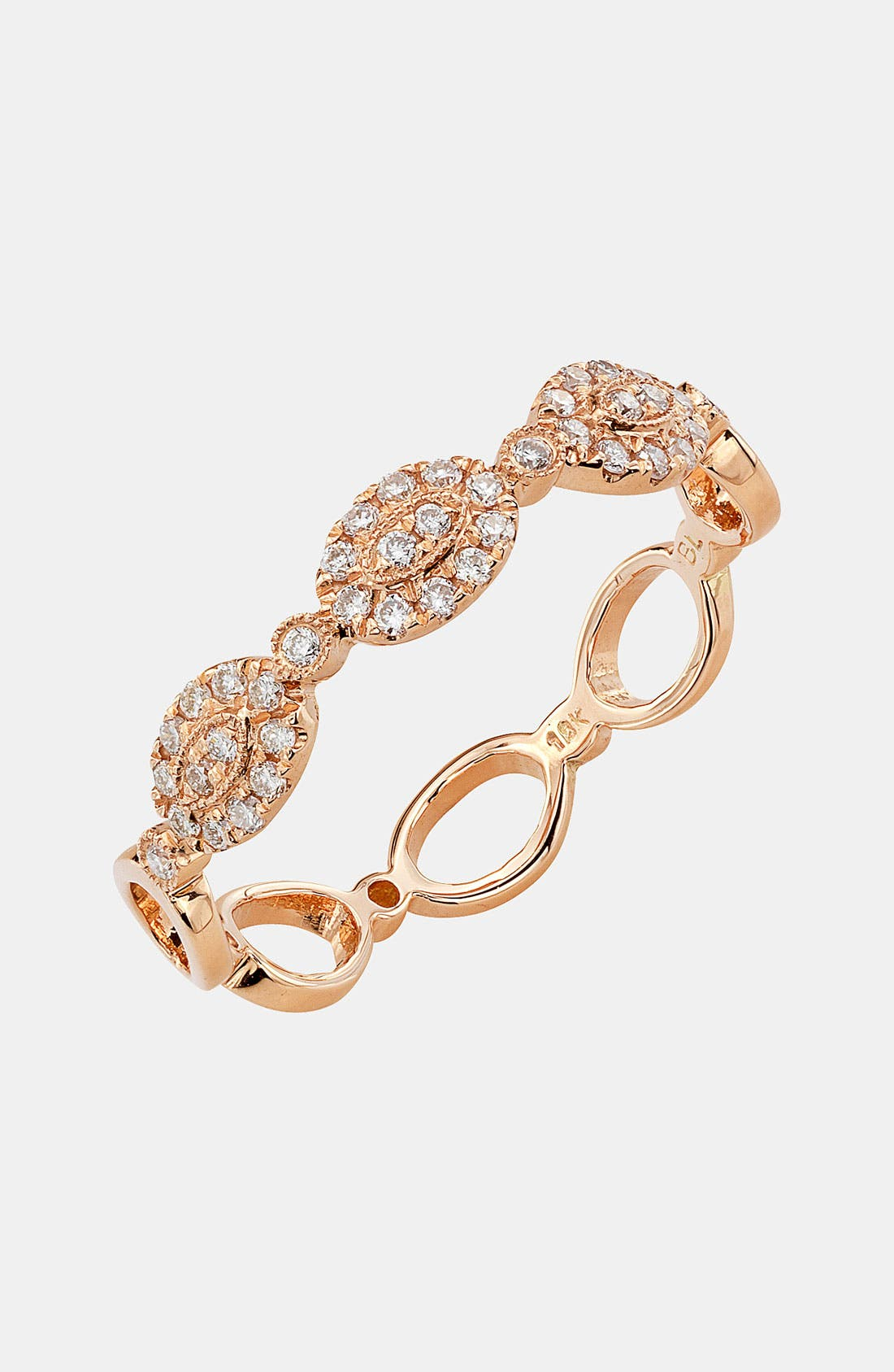 Oval Diamond Stackable Ring,                             Main thumbnail 1, color,                             ROSE GOLD
