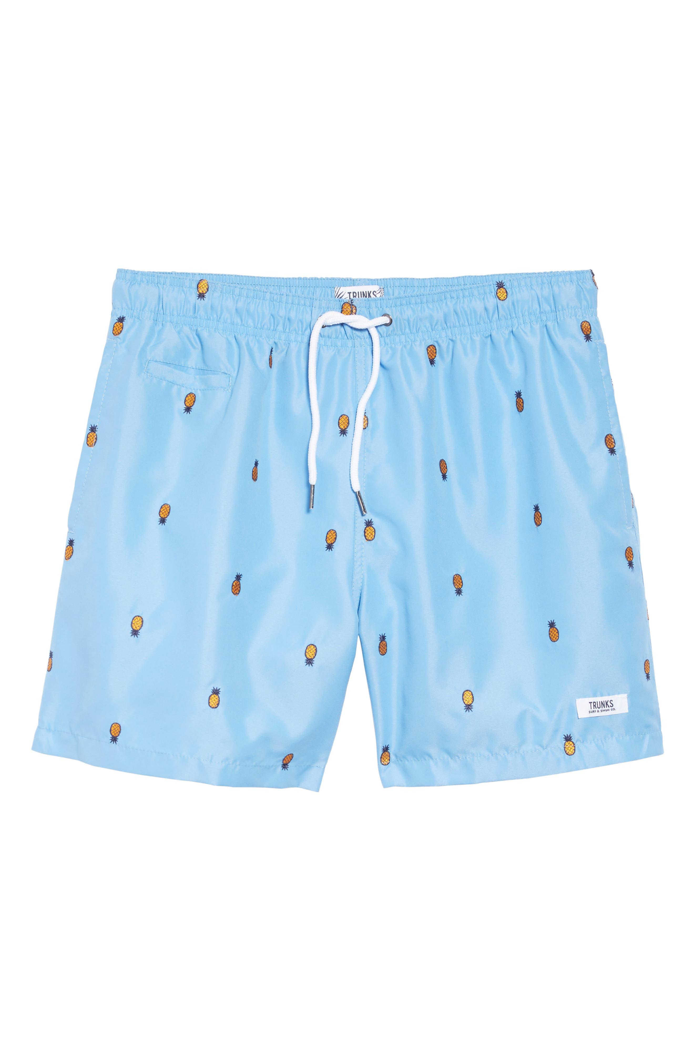 Premium Embroidered Sano Swim Trunks,                             Alternate thumbnail 6, color,                             PERISIAN BLUE