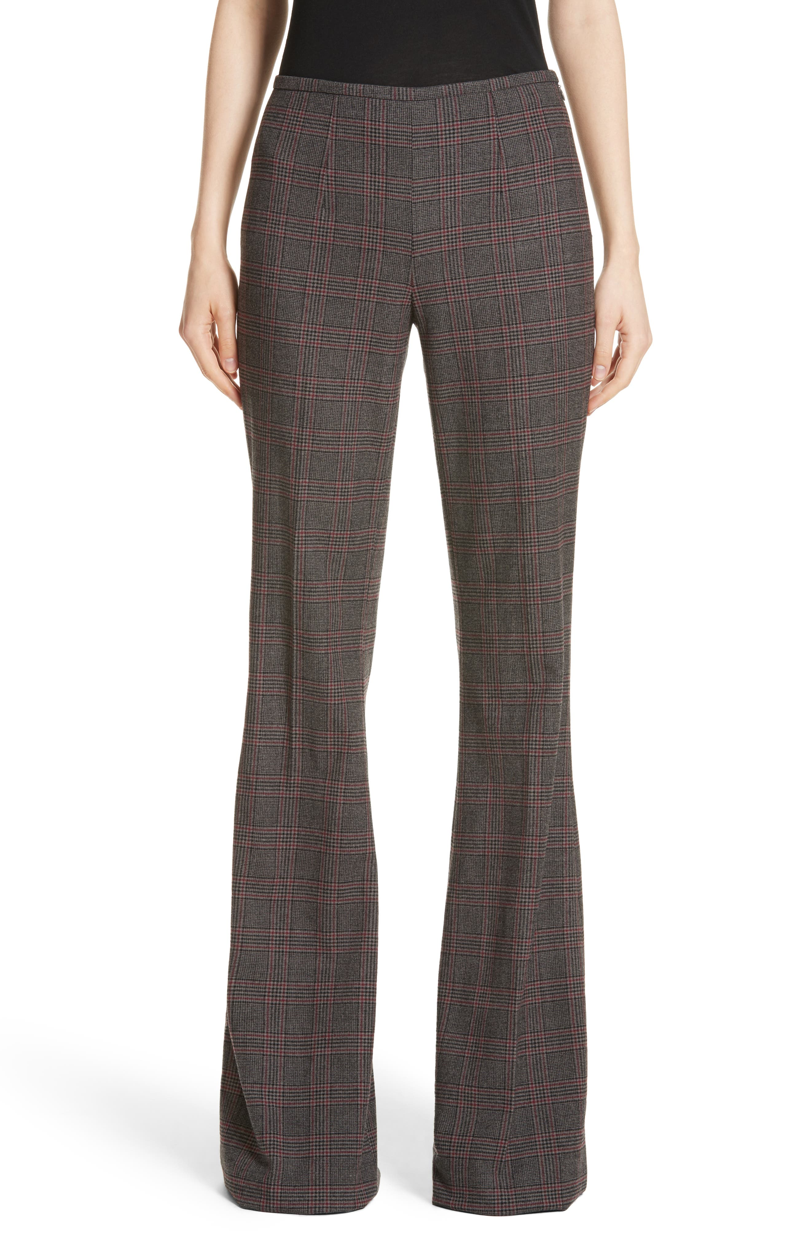 MICHAEL KORS Plaid Stretch Wool Flannel Pants, Main, color, 034