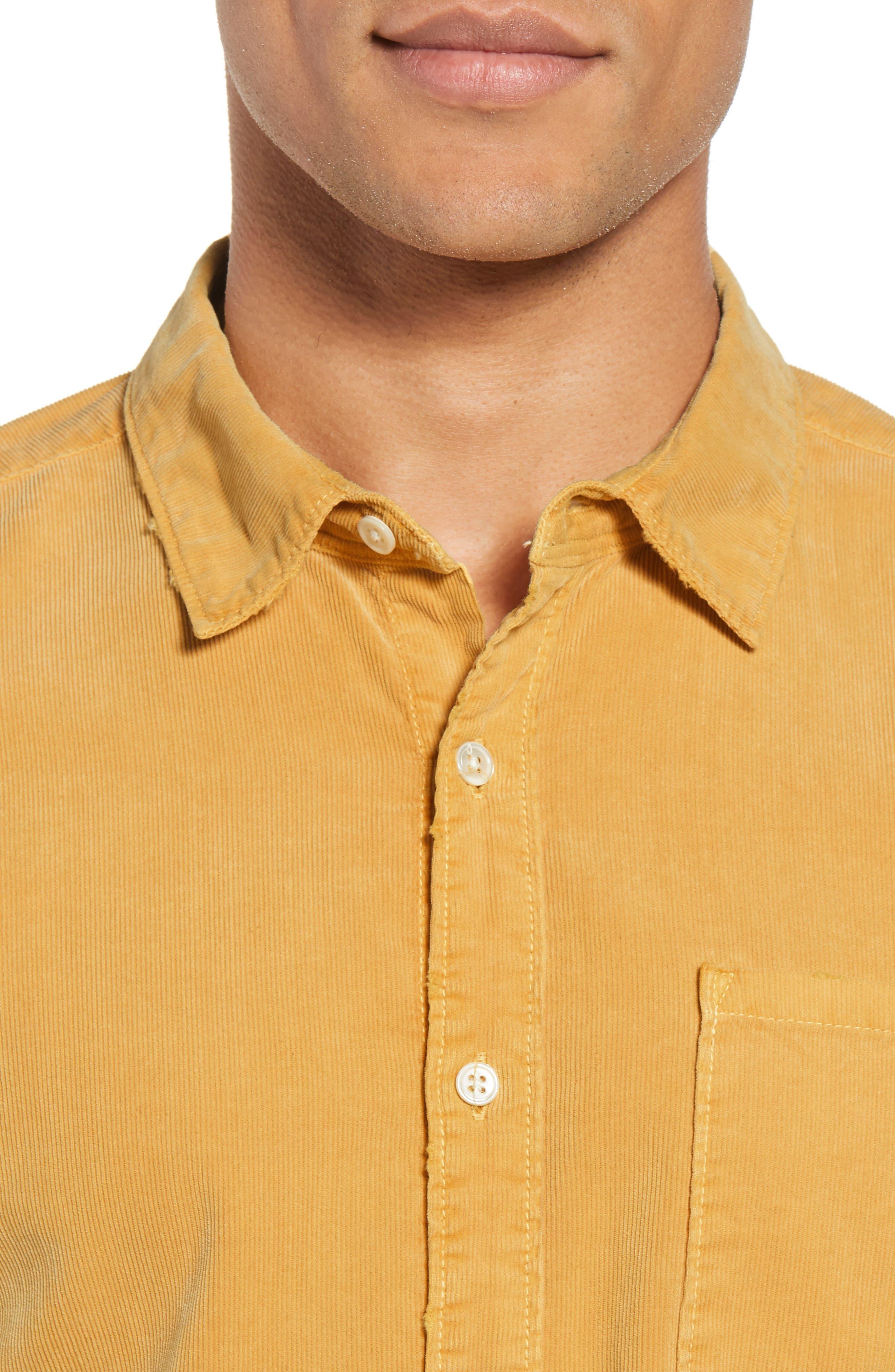 Slim Fit Corduroy Shirt,                             Alternate thumbnail 2, color,                             FADED GOLDEN GLOW