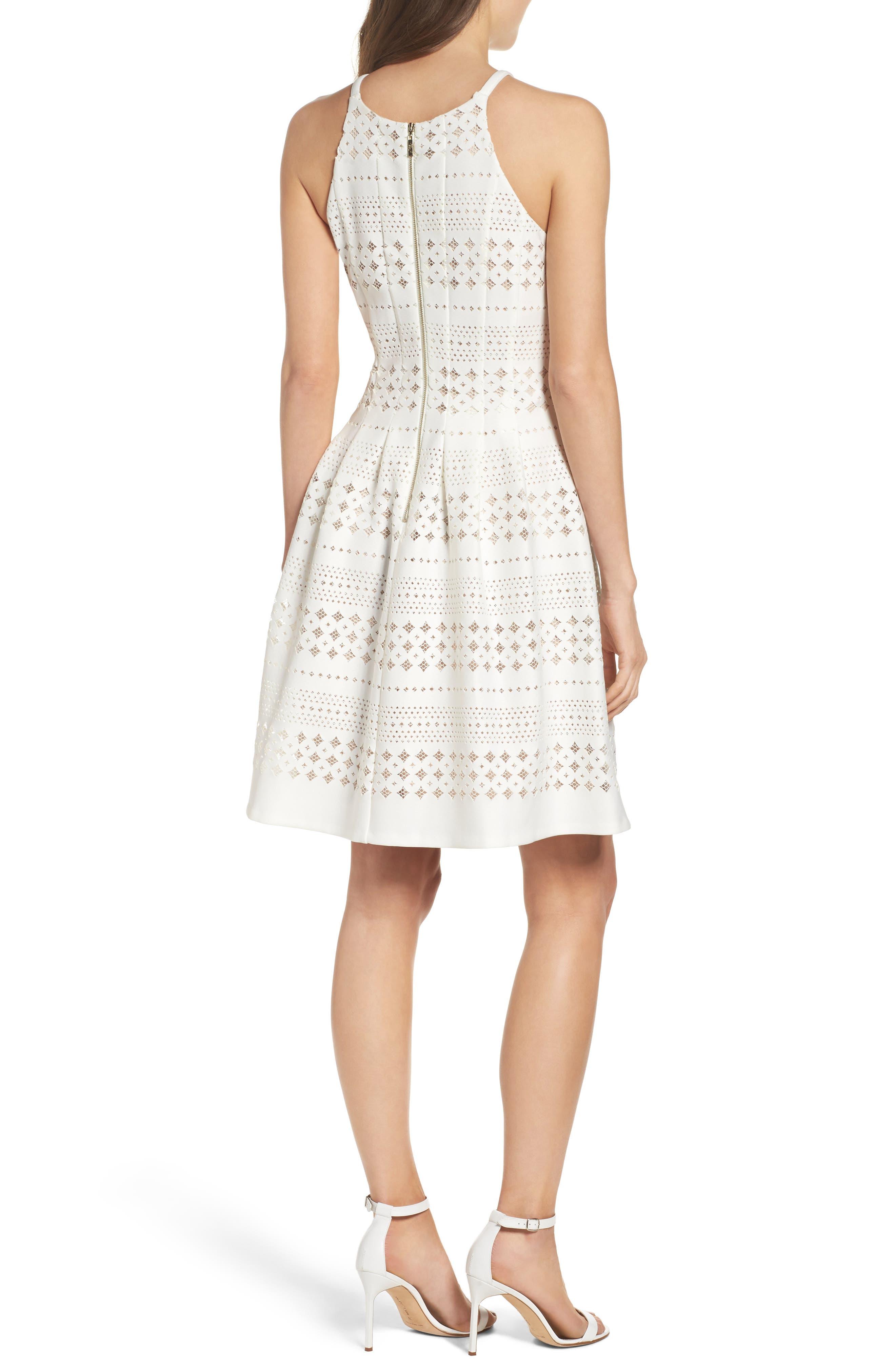 Laser Cut Fit & Flare Dress,                             Alternate thumbnail 2, color,                             901