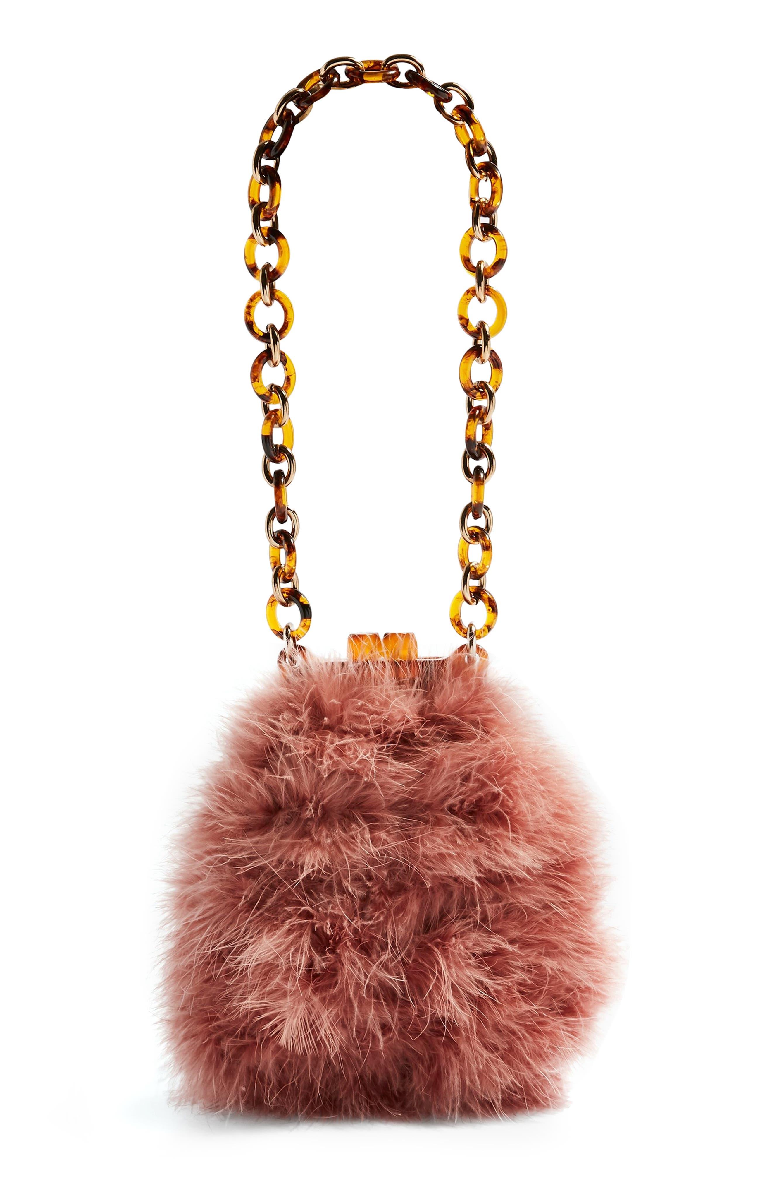 Marabou Feather Frame Handbag, Main, color, PINK MULTI