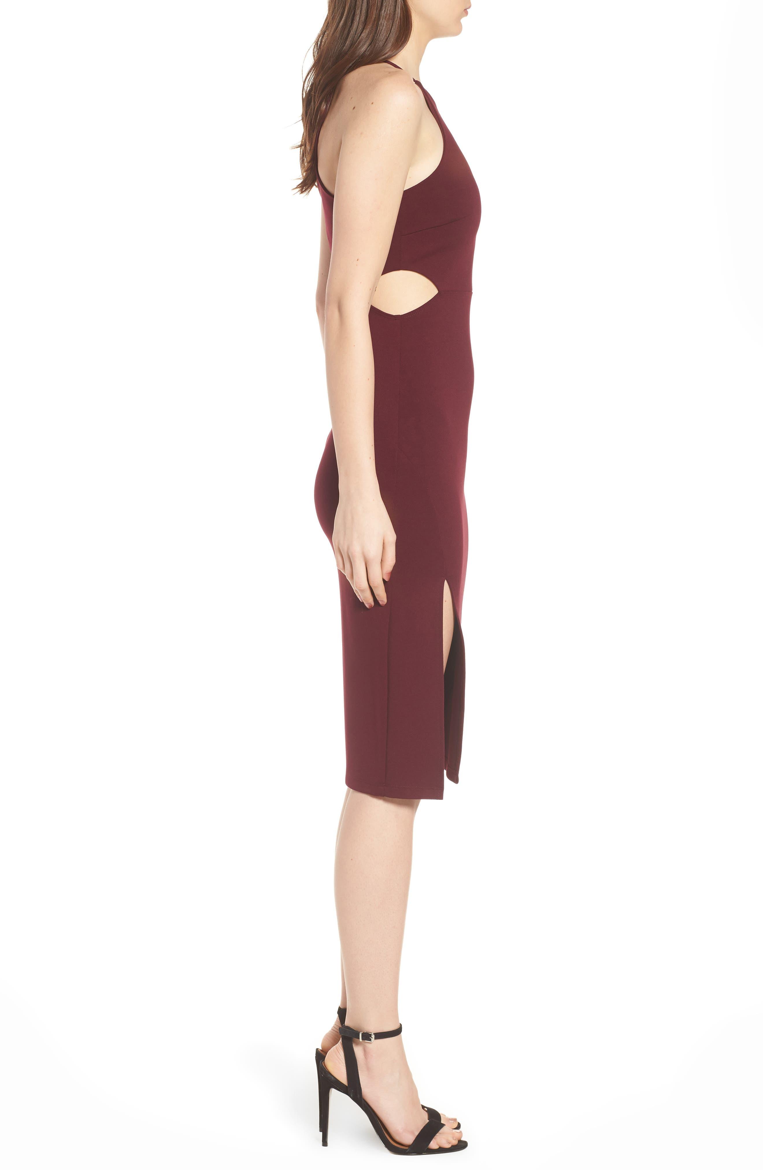 Side Cutout Body Con Dress,                             Alternate thumbnail 12, color,