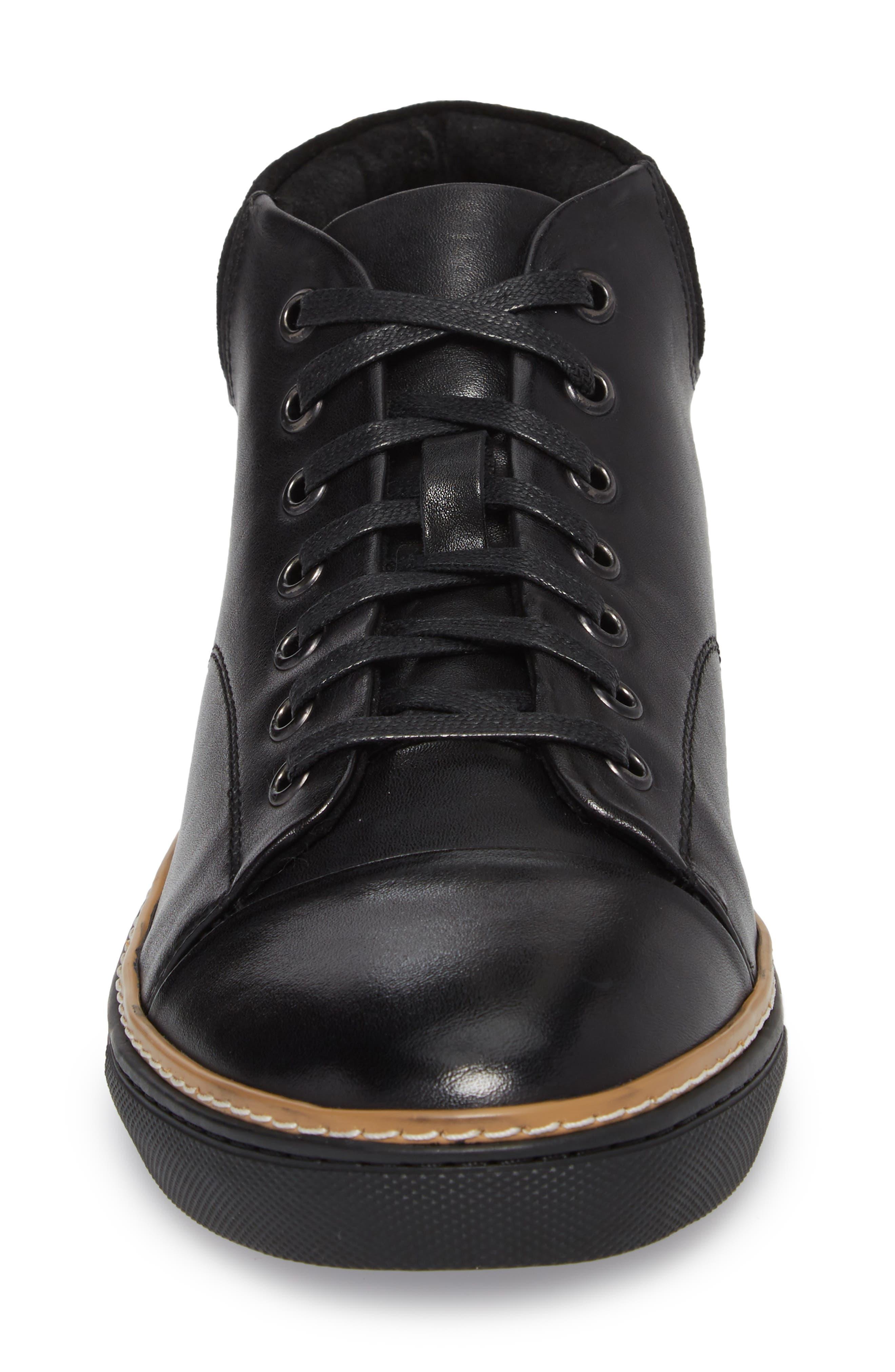 Grove Sneaker,                             Alternate thumbnail 4, color,                             BLACK LEATHER