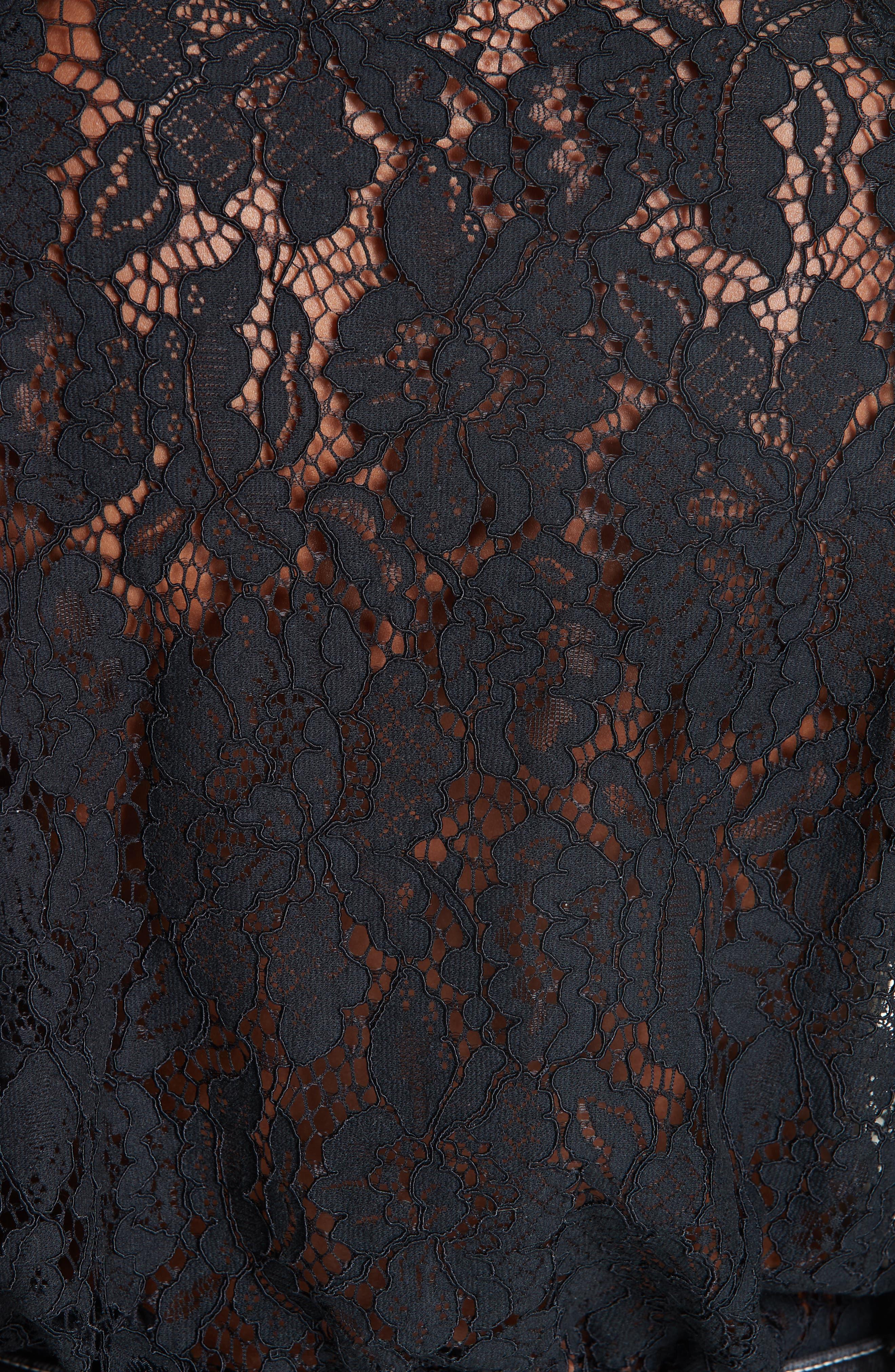 Cotton Blend Lace Top,                             Alternate thumbnail 5, color,                             BLACK 099