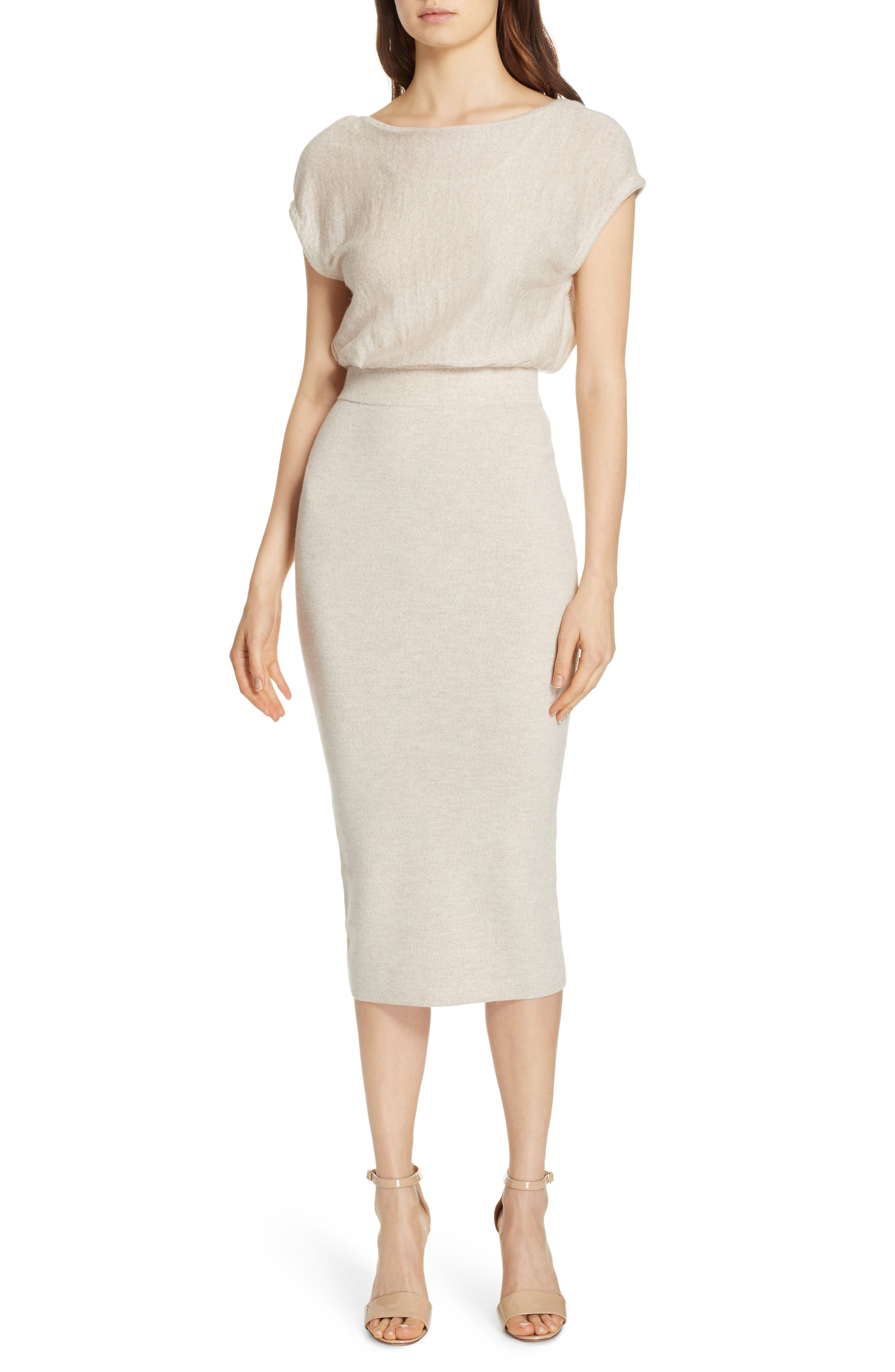 Alice + Olivia Shara Twist Back Blouson Dress, Ivory