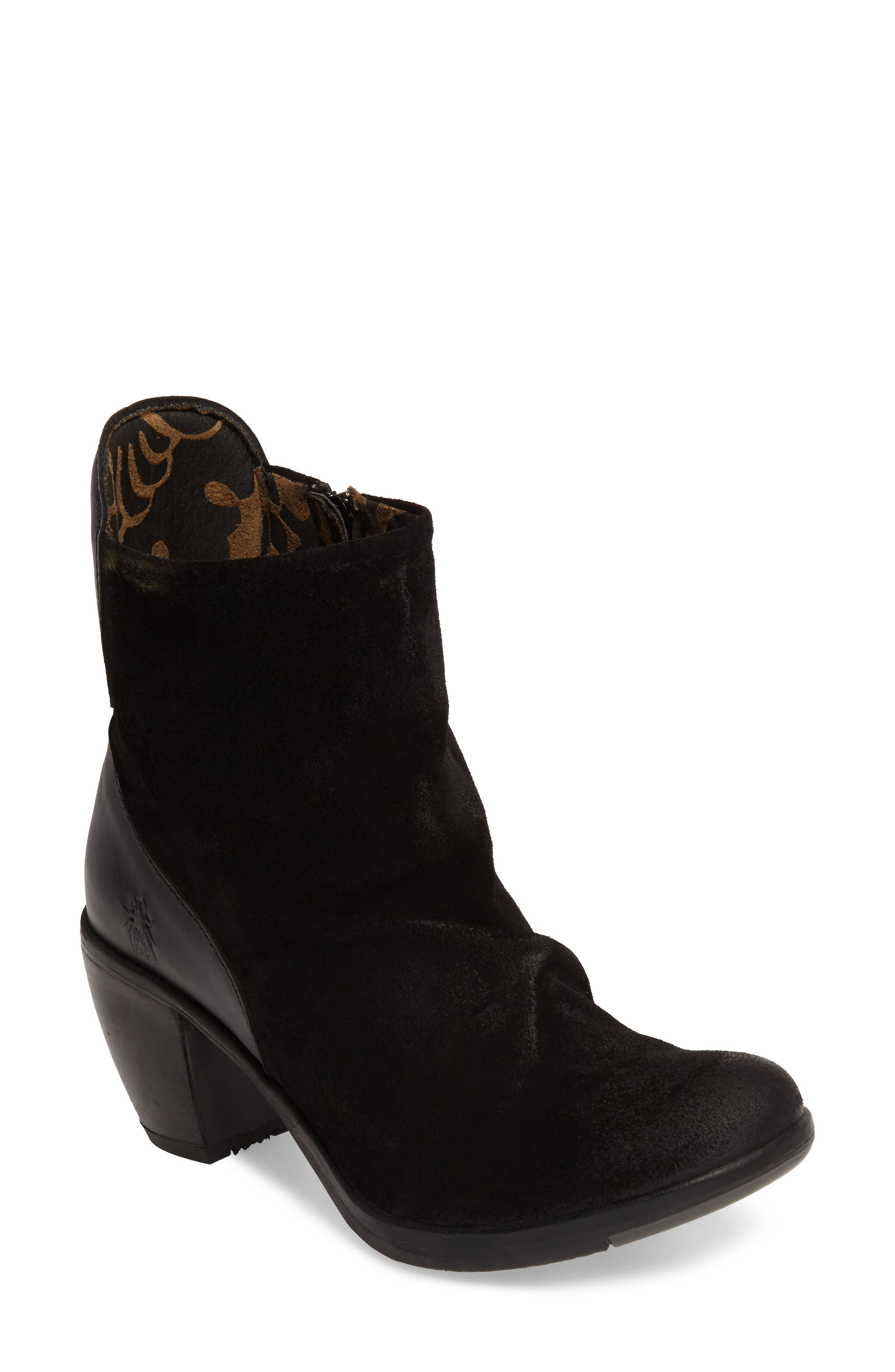 Hota Slouch Bootie,                             Main thumbnail 1, color,                             BLACK LEATHER