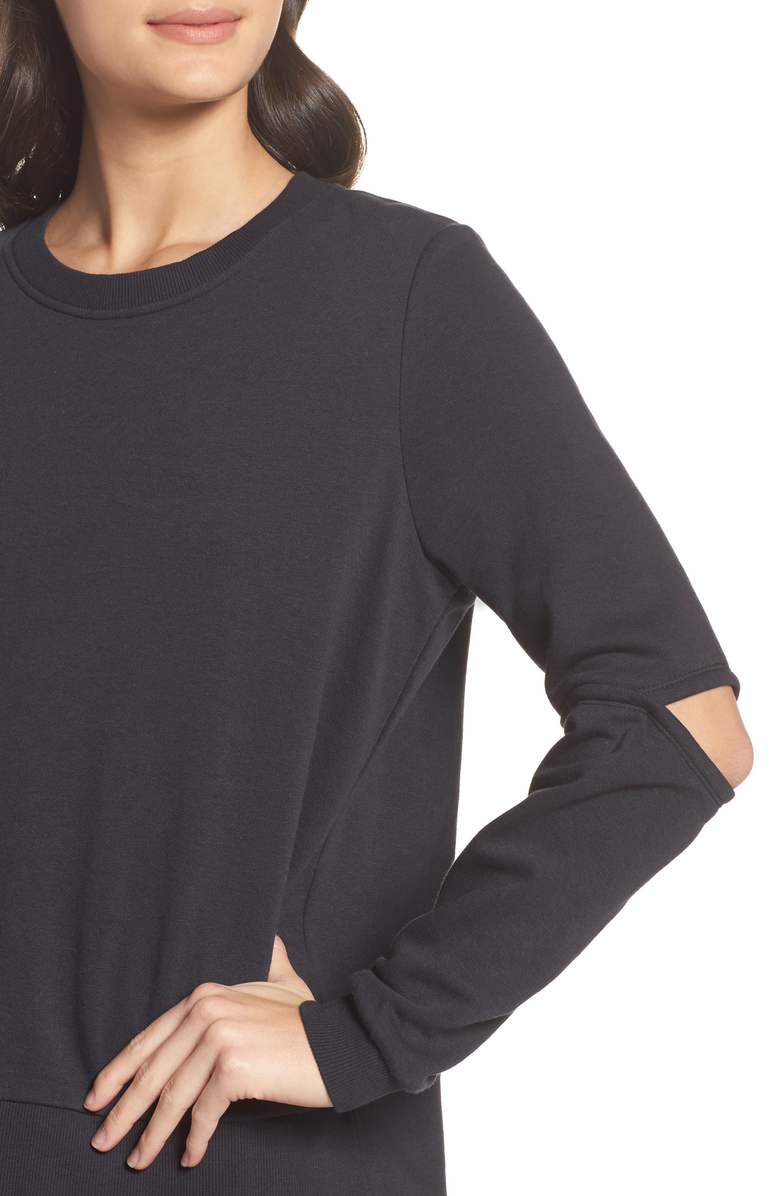 Cutout Sweatshirt,                             Alternate thumbnail 4, color,                             001