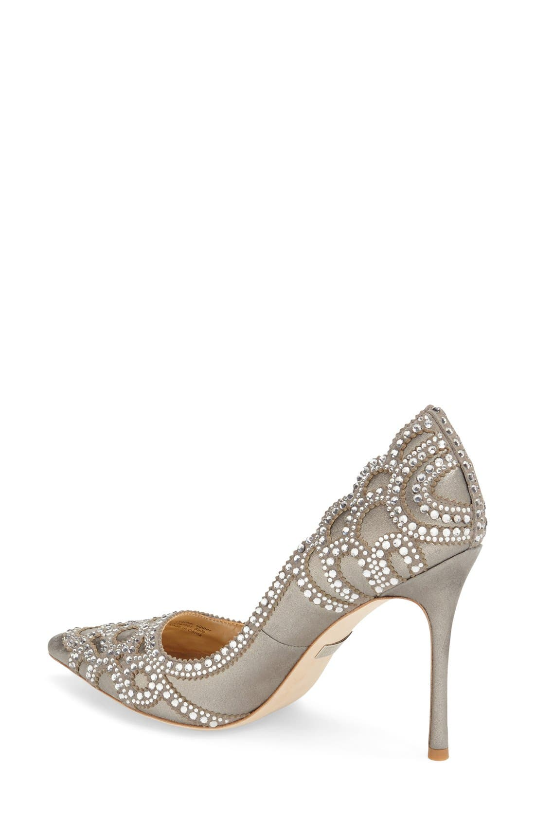 Badgley Mischka 'Rouge II' Crystal Pointy Toe Pump,                             Alternate thumbnail 2, color,                             040