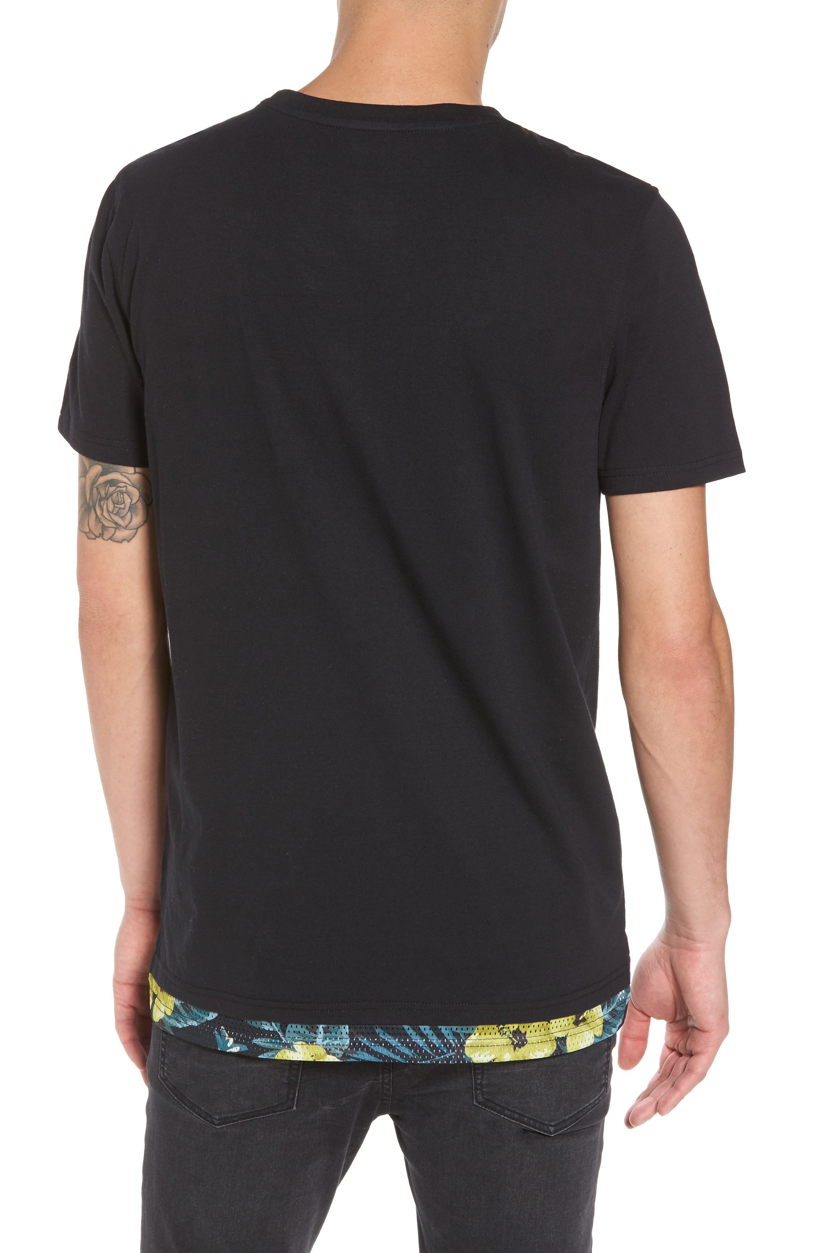Contrast Mesh Layered T-Shirt,                             Alternate thumbnail 2, color,                             001