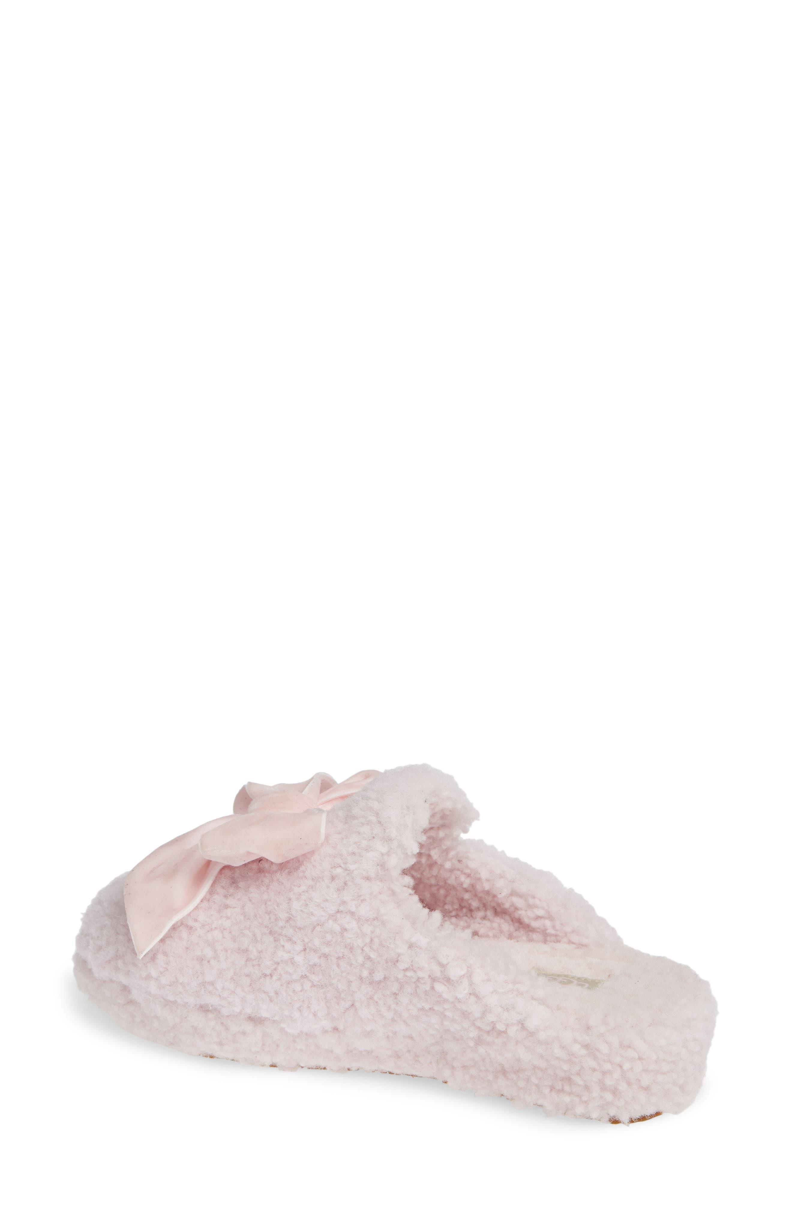 Addison Velvet Bow Genuine Shearling Slipper,                             Alternate thumbnail 2, color,                             SEASHELL PINK