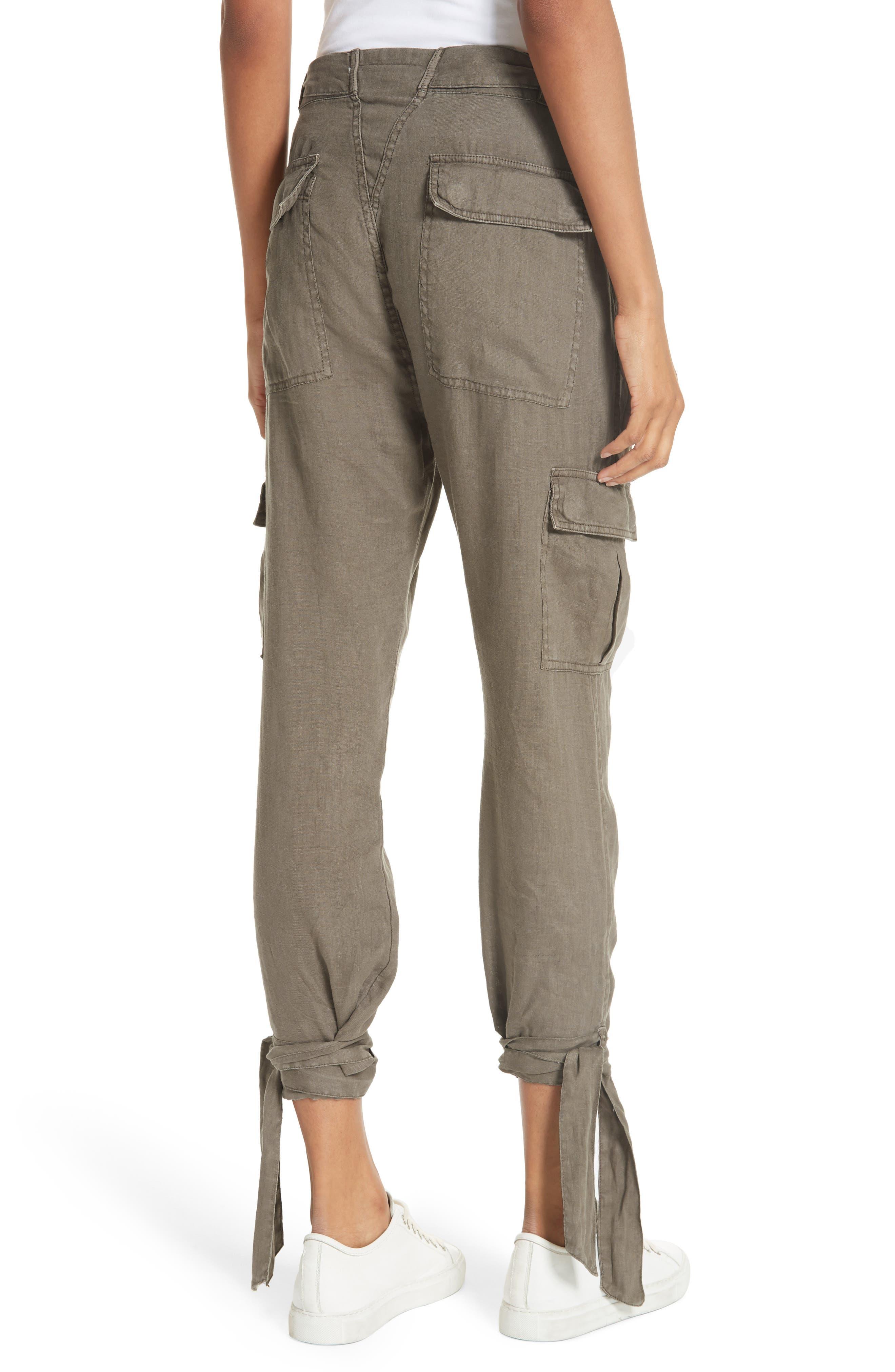 Erlette Linen Tie Cuff Crop Pants,                             Alternate thumbnail 4, color,