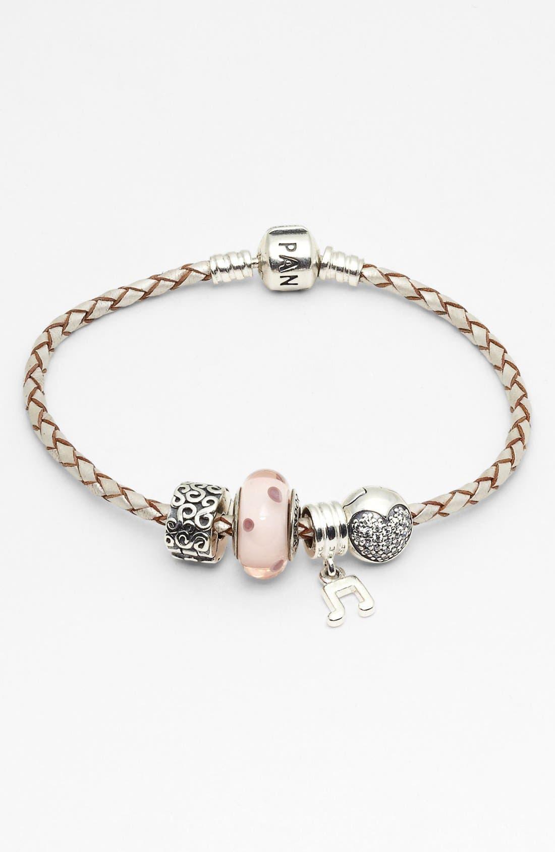 PANDORA Leather Bracelet & Charms,                             Main thumbnail 1, color,                             045